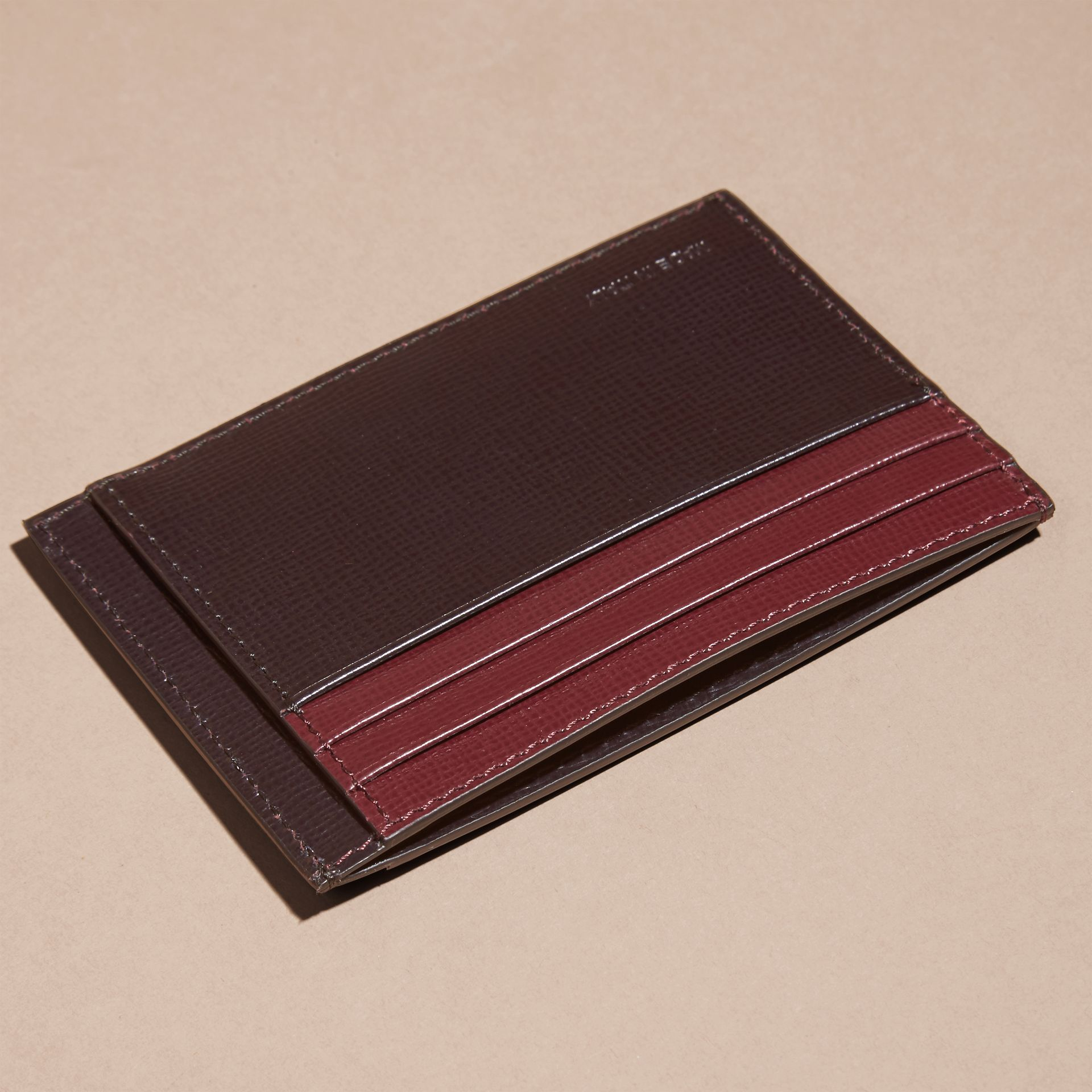 Wine/burgundy red Colour Block London Leather Card Case Wine/burgundy Red - gallery image 4