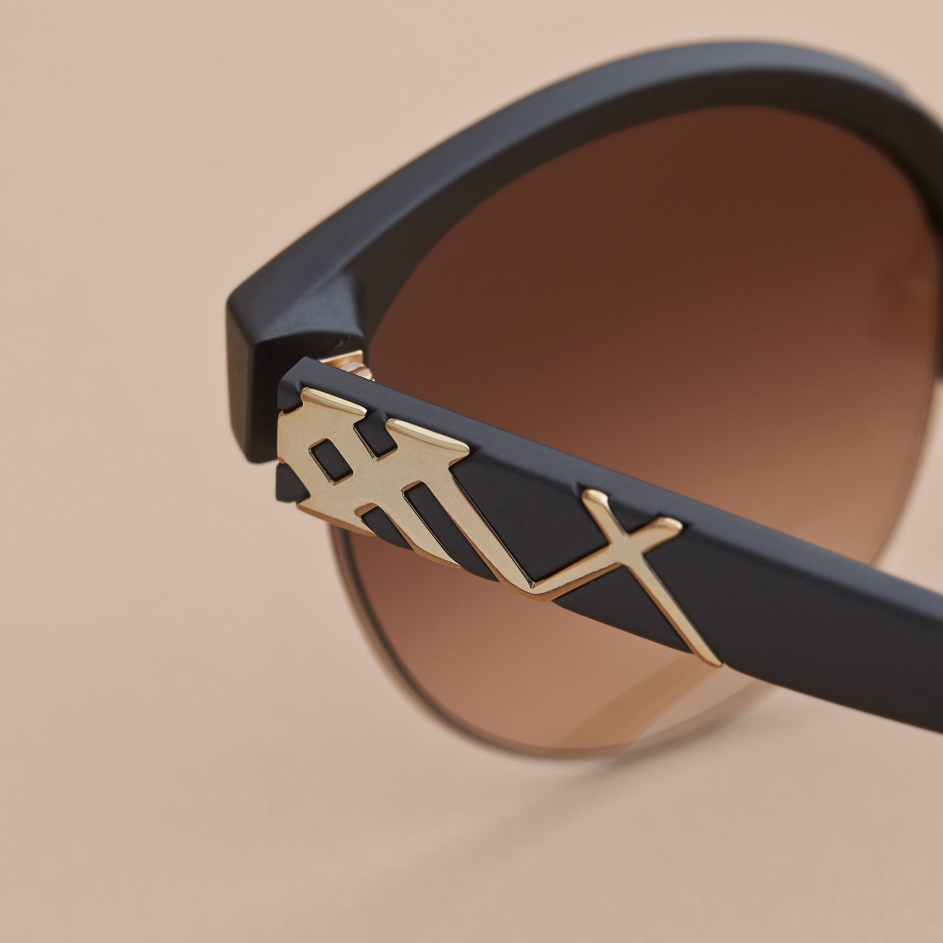 Check Detail Round Half-frame Sunglasses in Black - Women | Burberry - gallery image 2