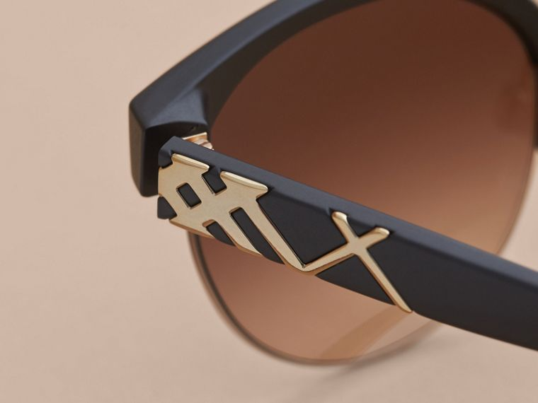 Check Detail Round Half-frame Sunglasses in Black - Women | Burberry Canada - cell image 1