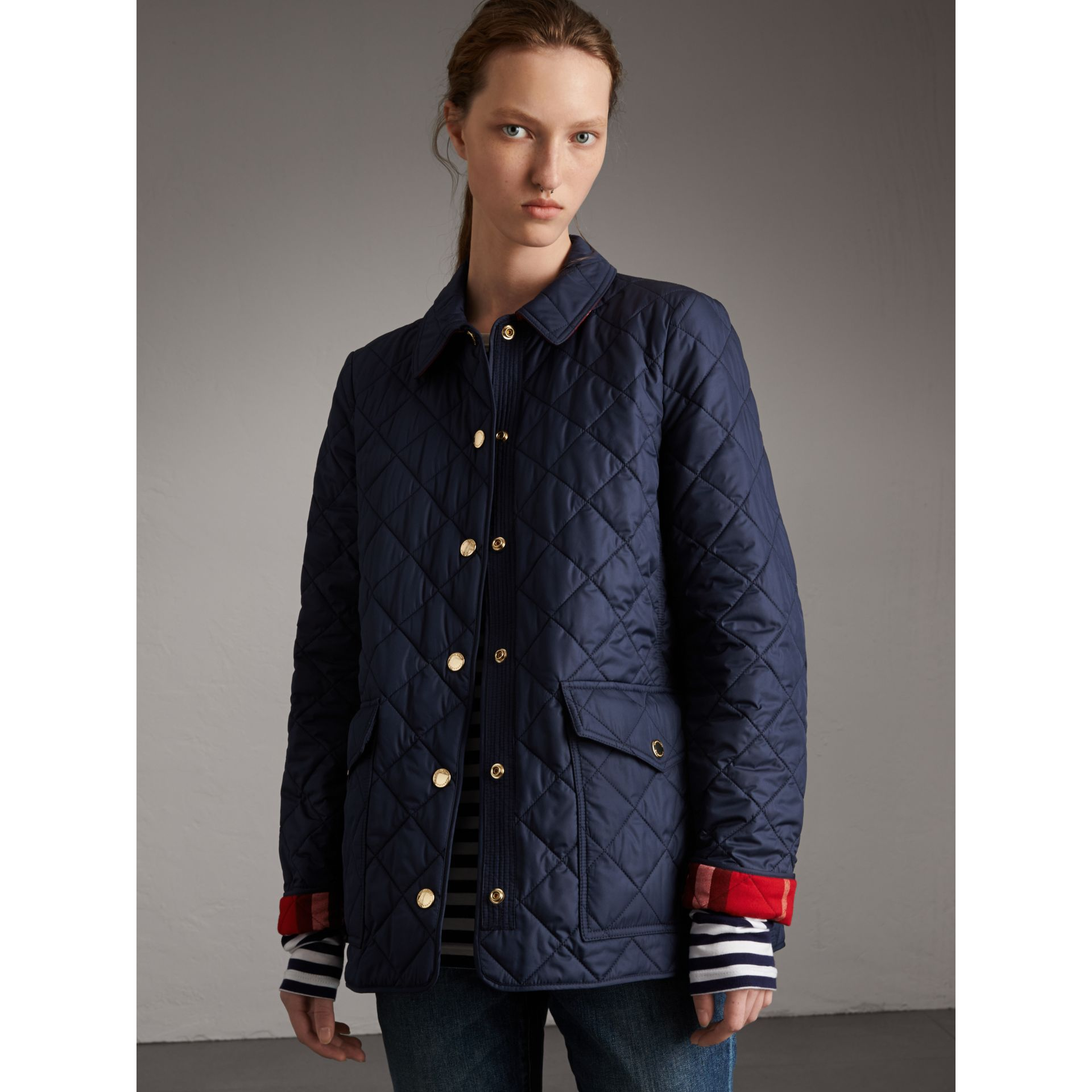 Check Detail Diamond Quilted Jacket in Navy - Women | Burberry - gallery image 7