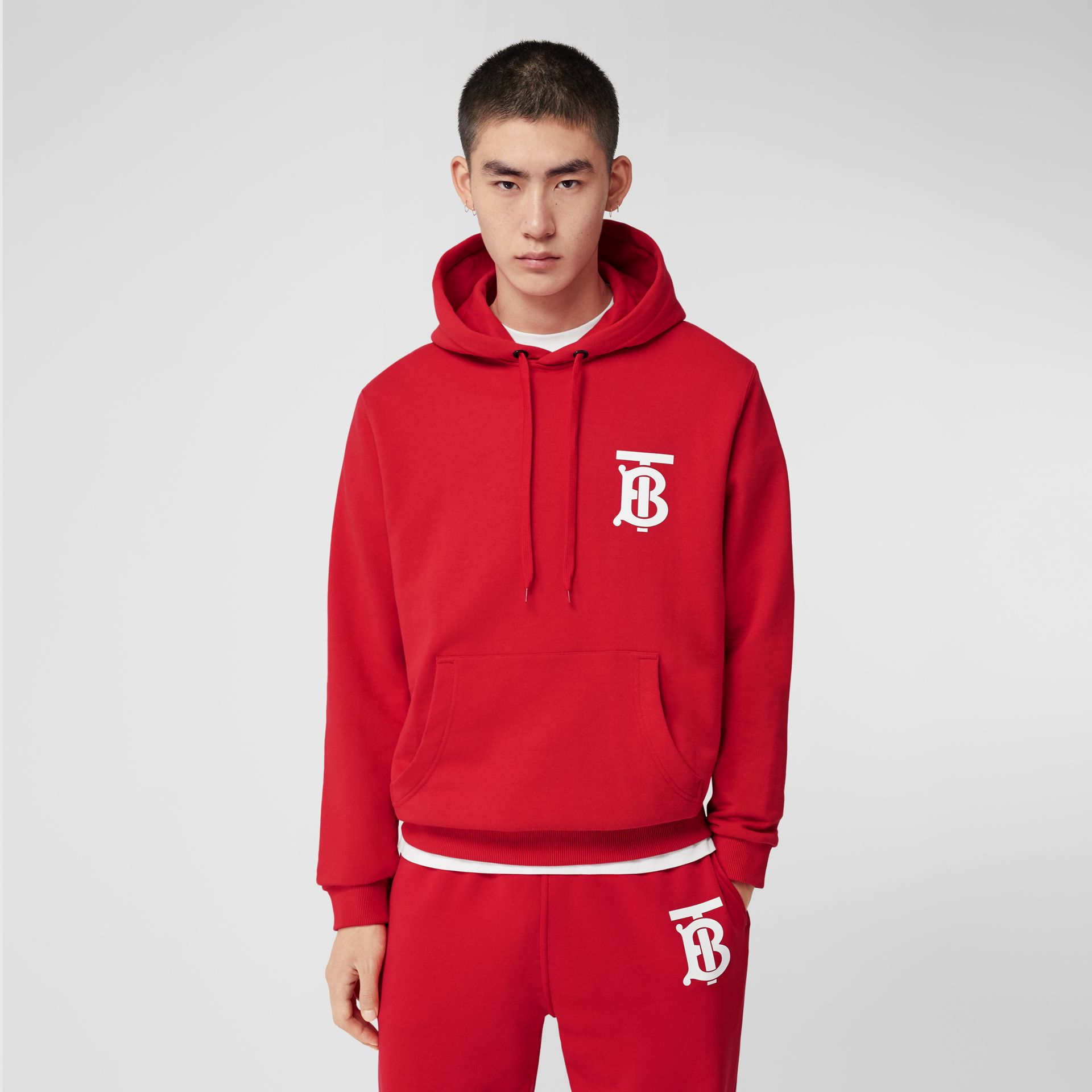 Monogram Motif Cotton Hoodie in Bright Red - Men | Burberry United Kingdom - gallery image 4