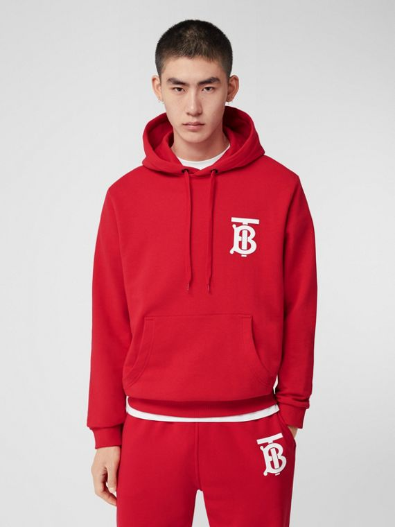Monogram Motif Cotton Hoodie in Bright Red