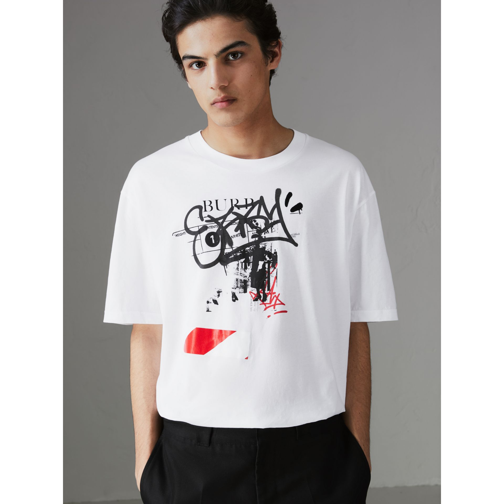 Graffitied Ticket Print Cotton T-shirt in White - Men | Burberry United States - gallery image 0