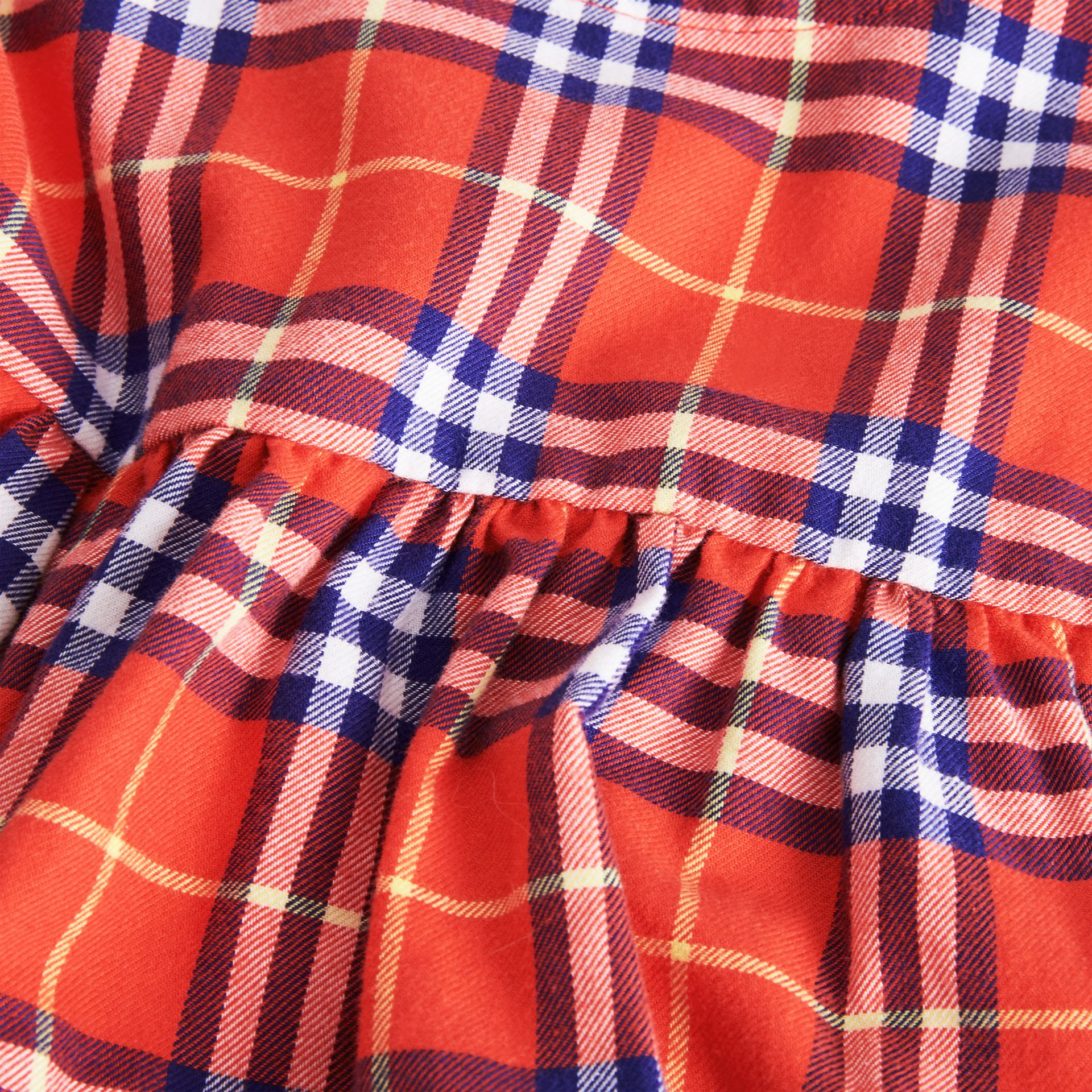 Ruffle Detail Cotton Check Dress in Orange Red - Children | Burberry United Kingdom - gallery image 1
