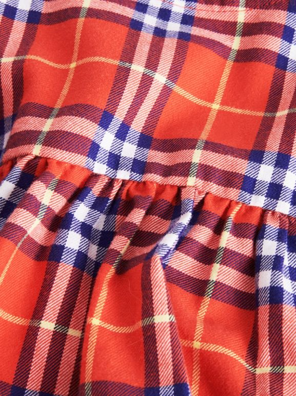 Ruffle Detail Cotton Check Dress in Orange Red - Children | Burberry - cell image 1