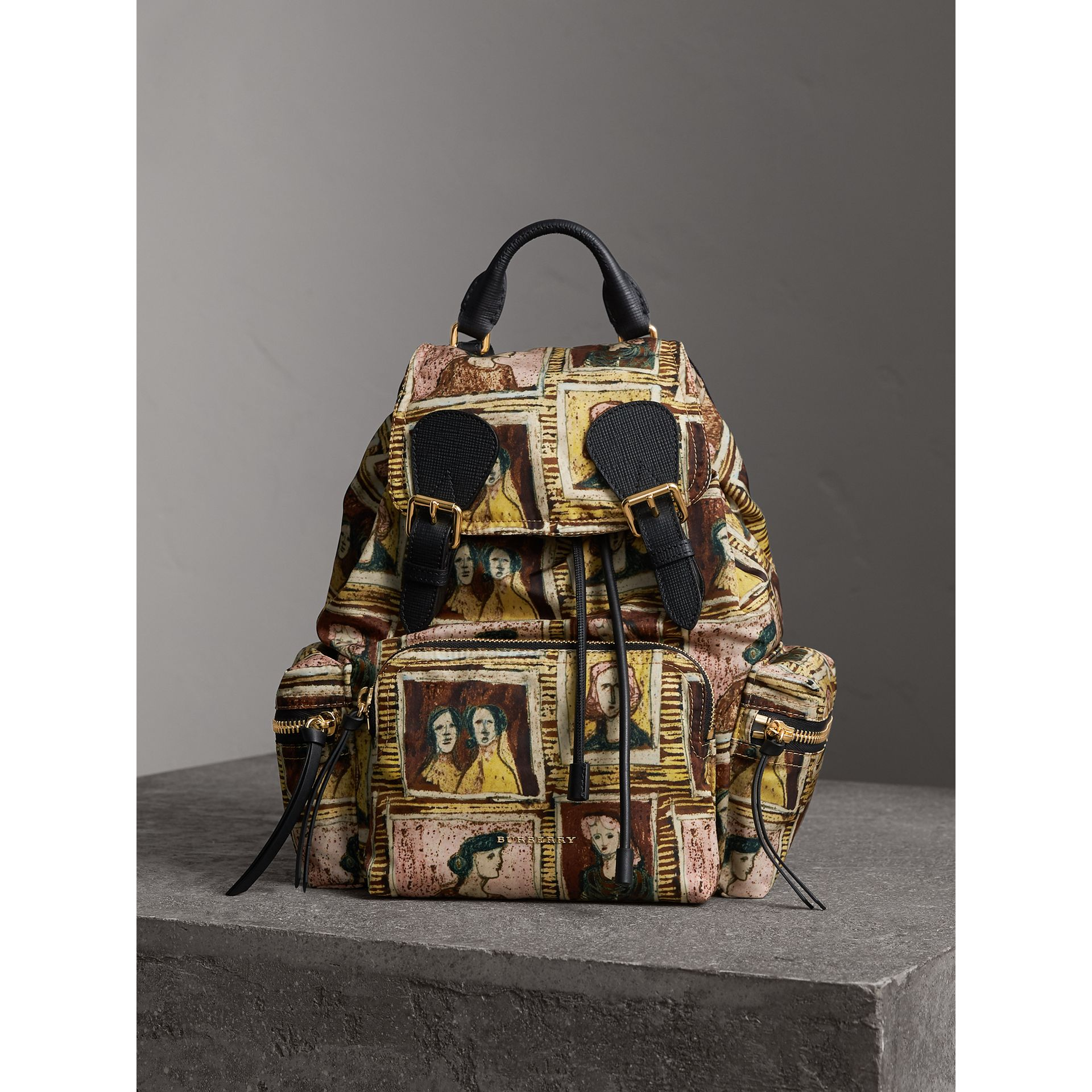 The Medium Rucksack in Framed Heads Print in Umber Brown - Women | Burberry - gallery image 7