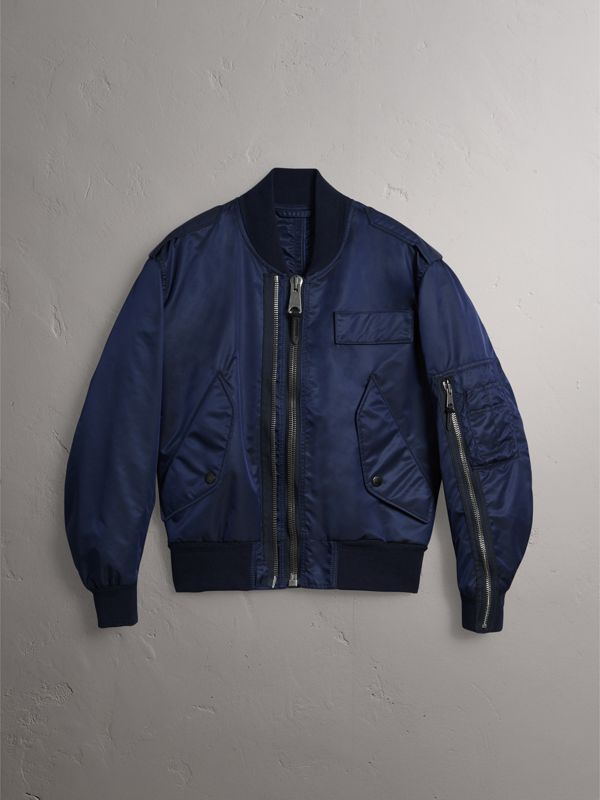 Zip Detail Cropped Bomber Jacket in Navy - Men | Burberry - cell image 3