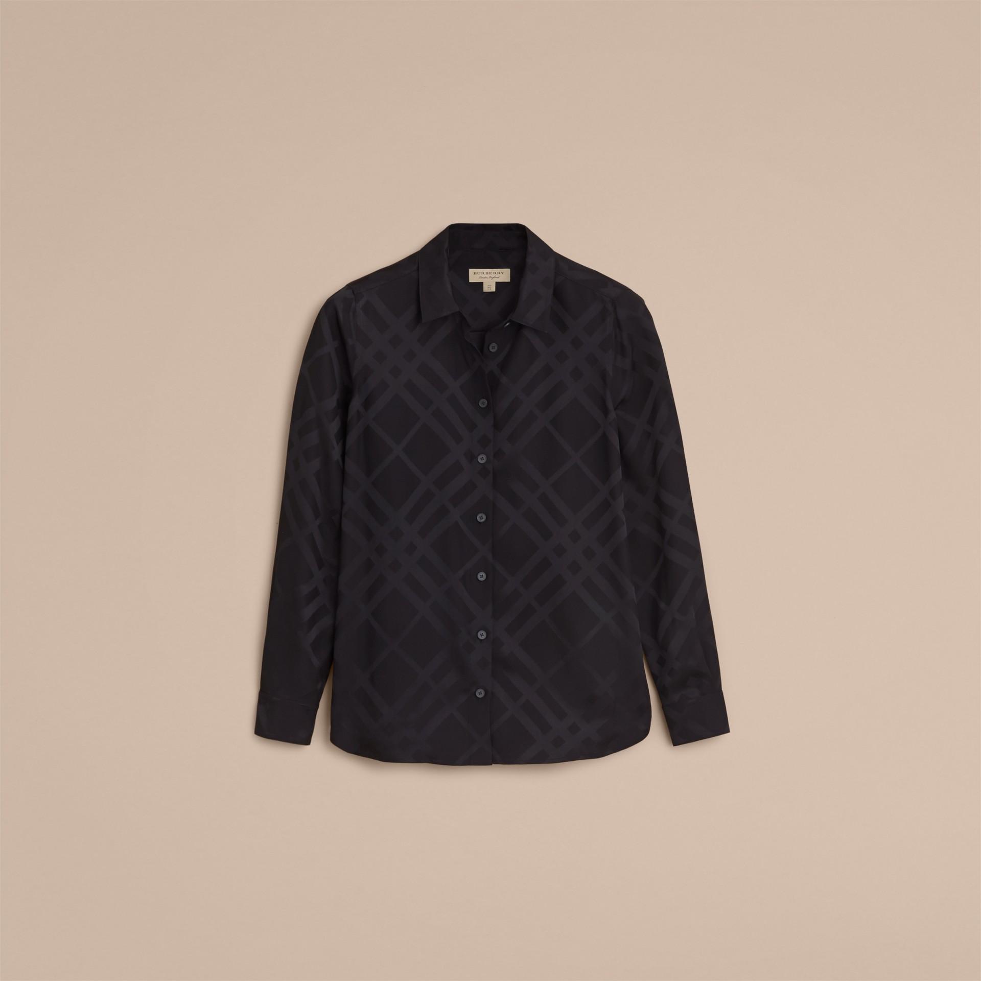 Tonal Check Silk Shirt Black - gallery image 4