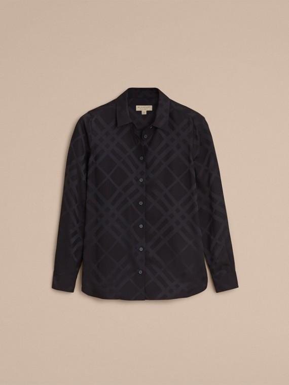 Tonal Check Silk Shirt Black - cell image 3
