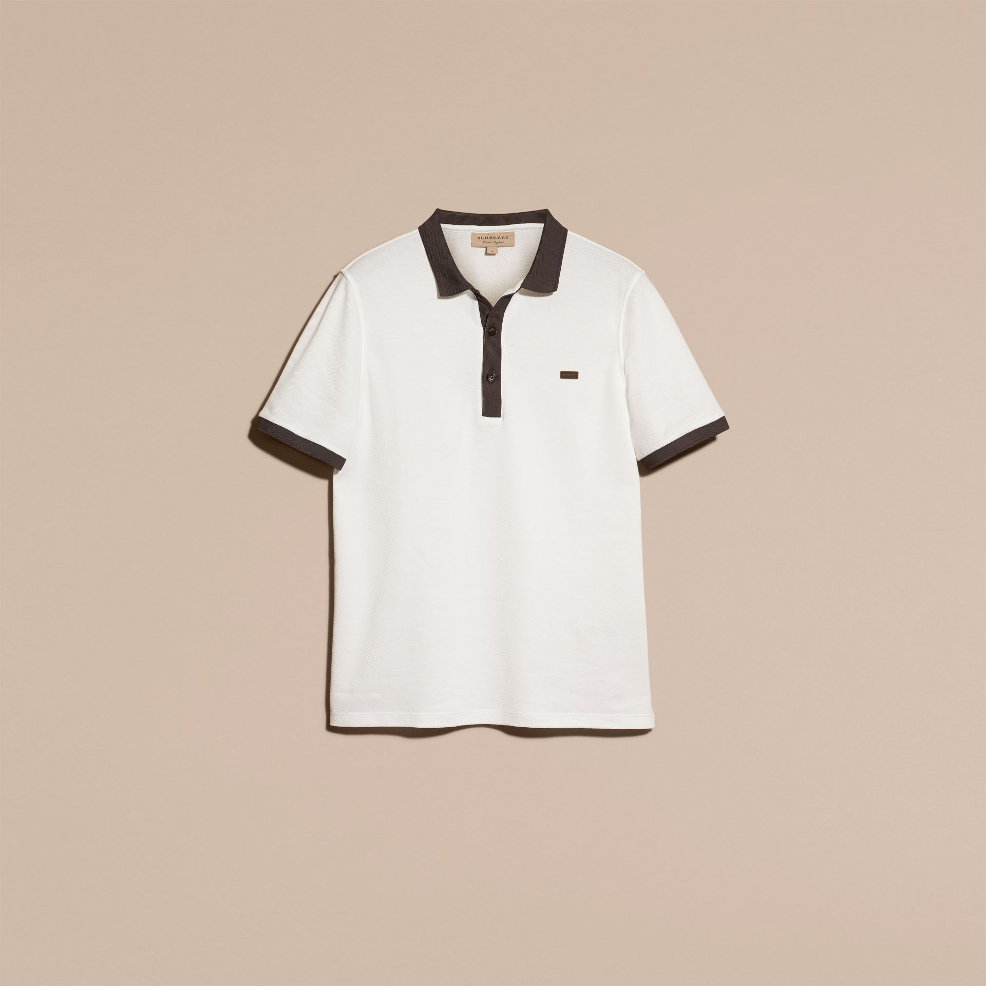 White/charcoal Mercerised Cotton Piqué Polo Shirt White/charcoal - gallery image 4