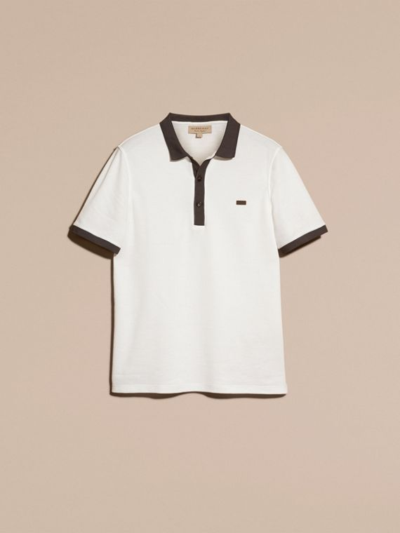 White/charcoal Mercerised Cotton Piqué Polo Shirt White/charcoal - cell image 3