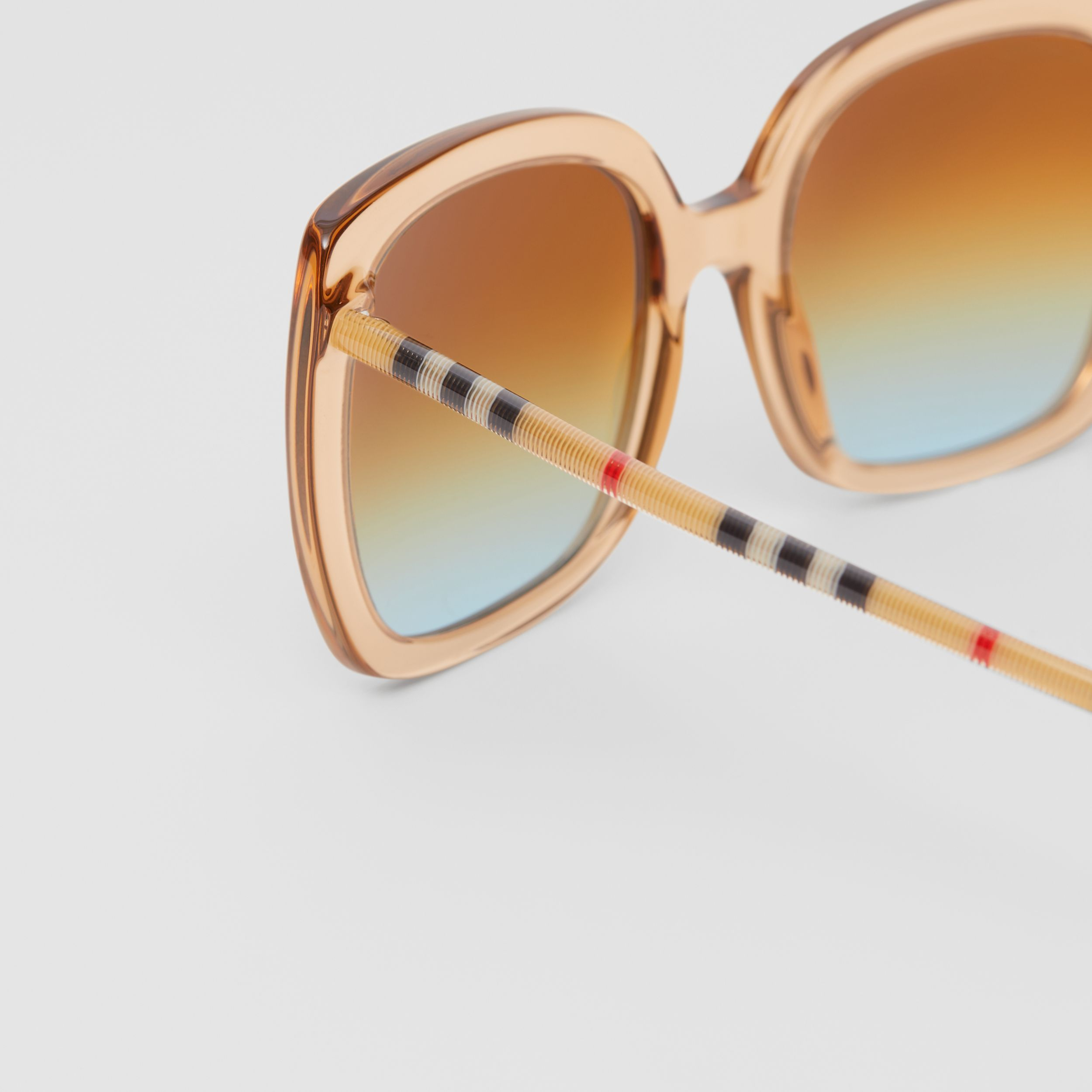 Oversized Square Frame Sunglasses in Peach - Women | Burberry Canada - 2
