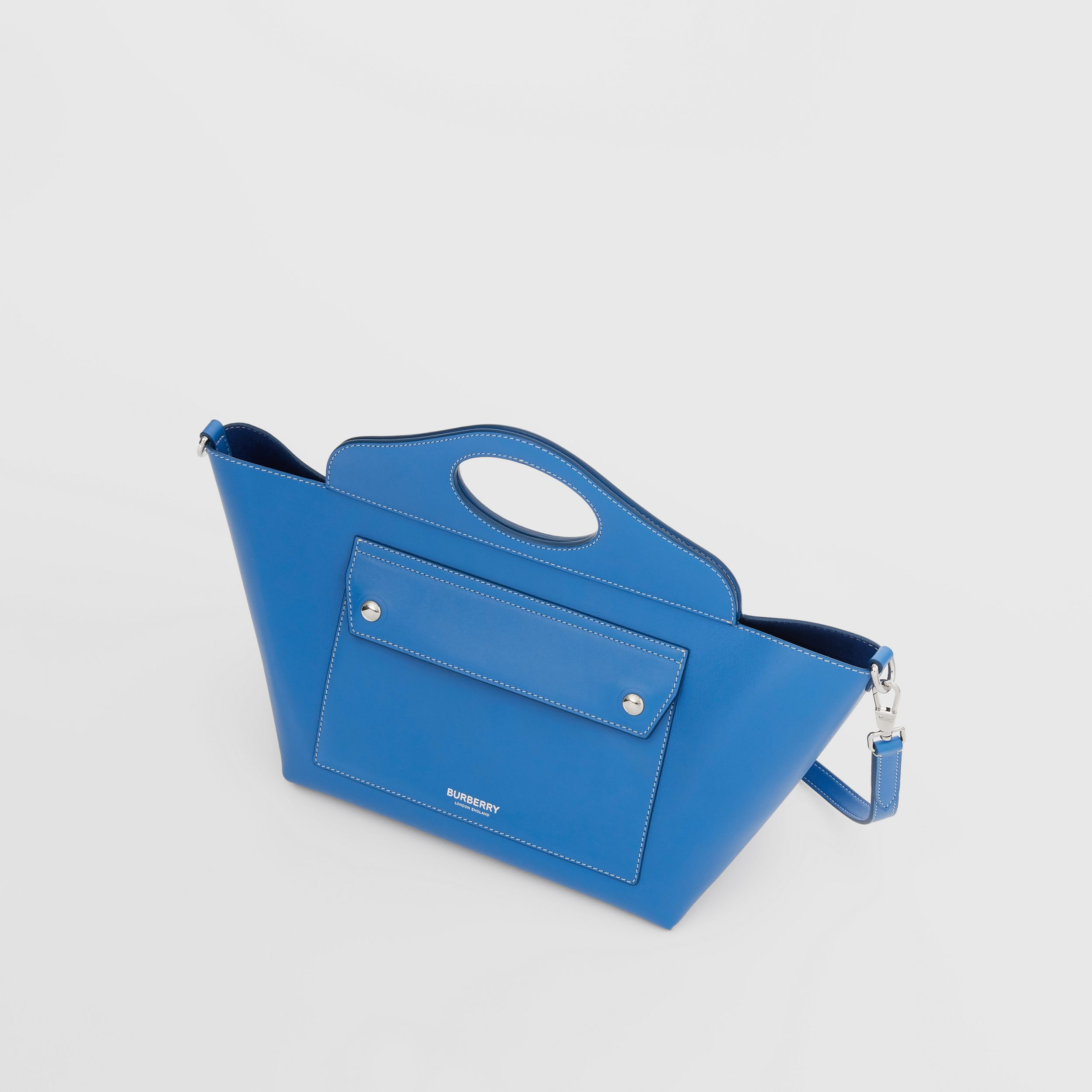 Mini Leather Soft Pocket Tote in Warm Royal Blue - Women | Burberry Australia - 4