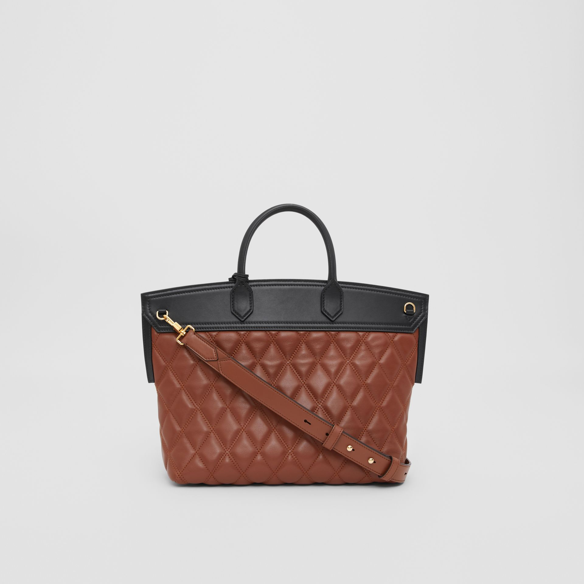 Small Quilted Lambskin Society Top Handle Bag in Tan - Women | Burberry United Kingdom - gallery image 7
