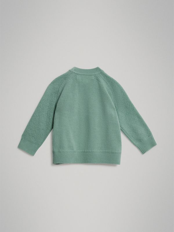 Contrast Motif Cashmere Sweater in Dusty Mint Melange - Children | Burberry - cell image 3