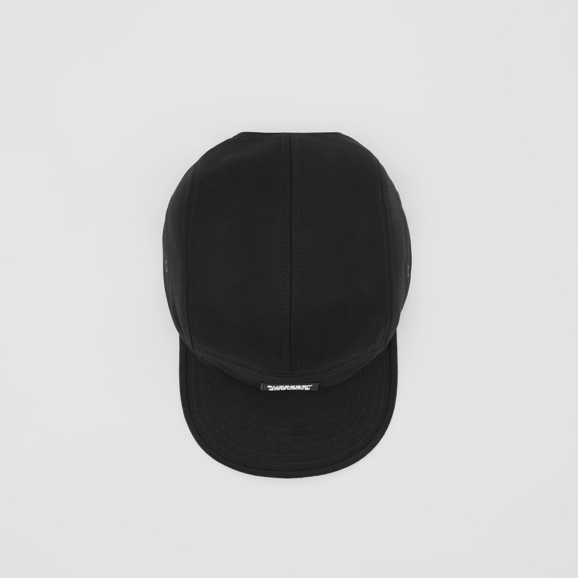 Logo Appliqué Cotton Twill Cap in Black | Burberry United States - gallery image 3