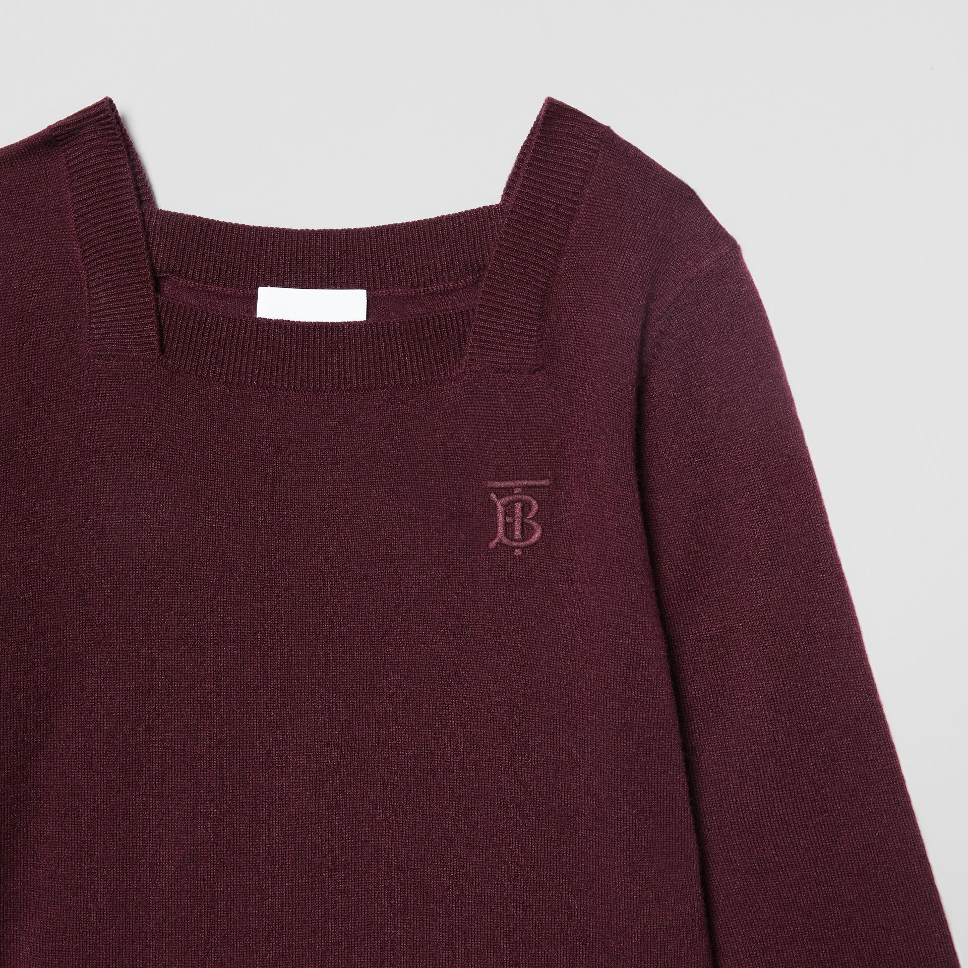 Monogram Motif Cashmere Sweater Dress in Burgundy | Burberry United Kingdom - gallery image 4