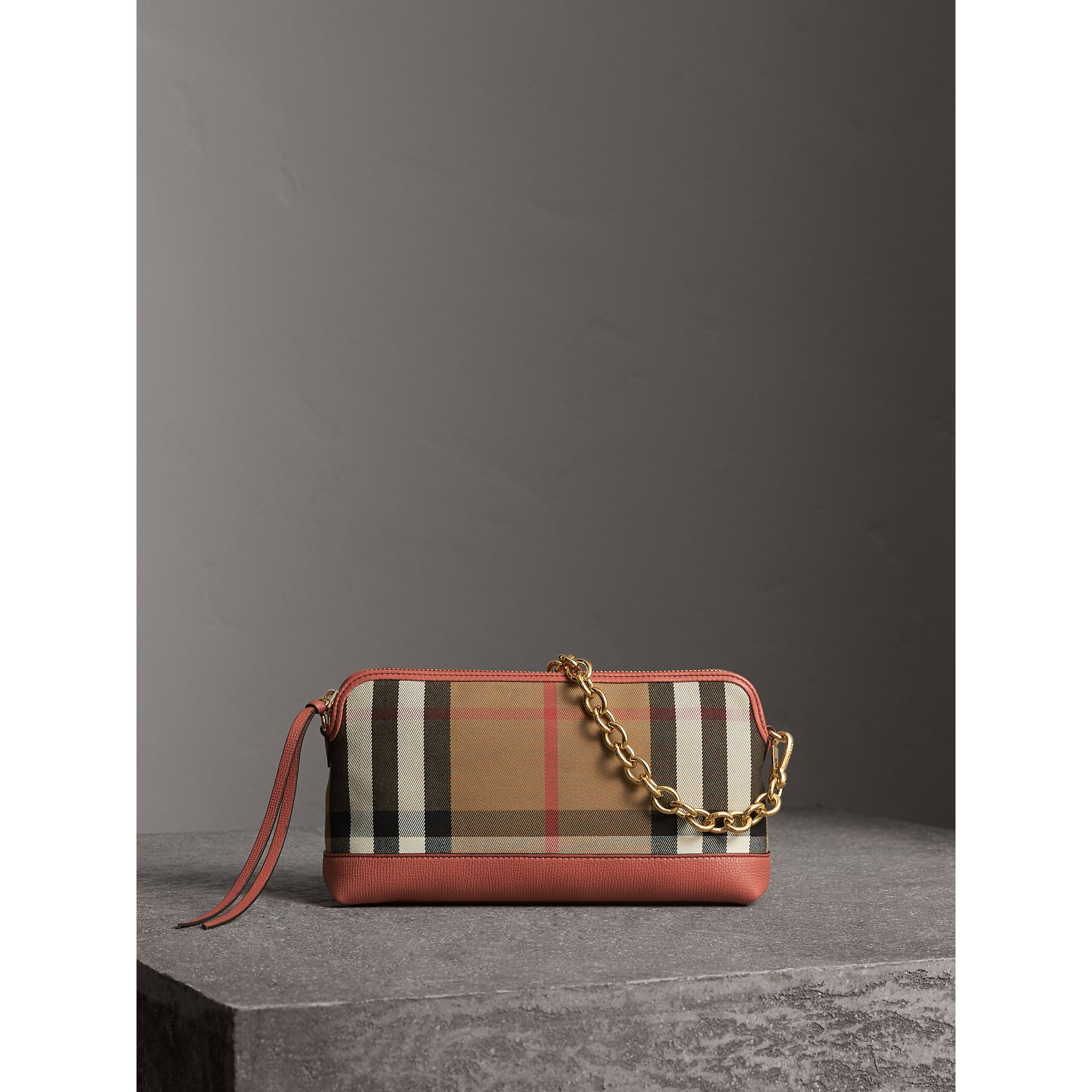 House Check and Leather Clutch Bag in Cinnamon Red - Women | Burberry Singapore - gallery image 1