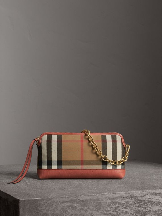 House Check and Leather Clutch Bag in Cinnamon Red - Women | Burberry Canada