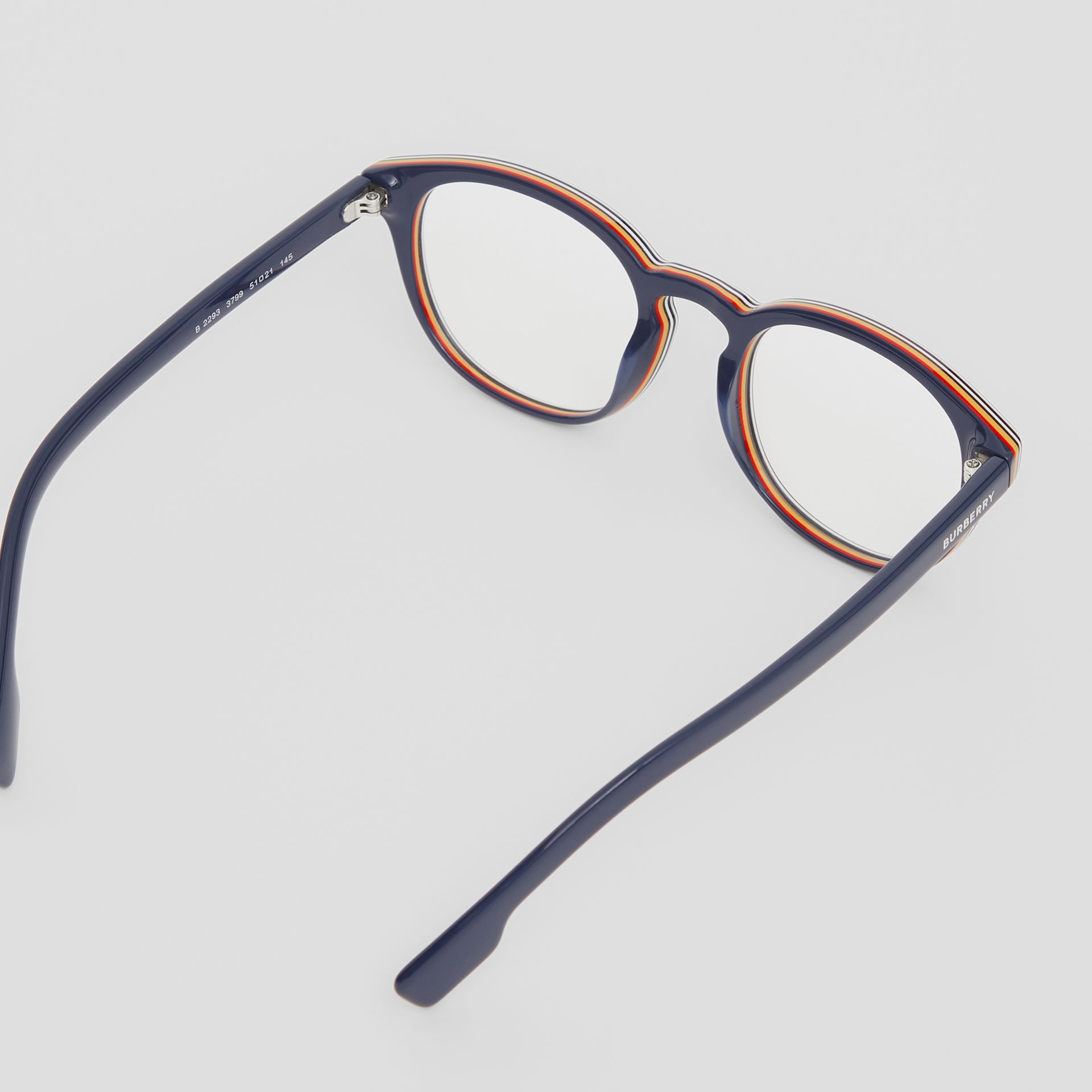 Icon Stripe Detail Round Optical Frames in Blue - Men | Burberry - gallery image 3