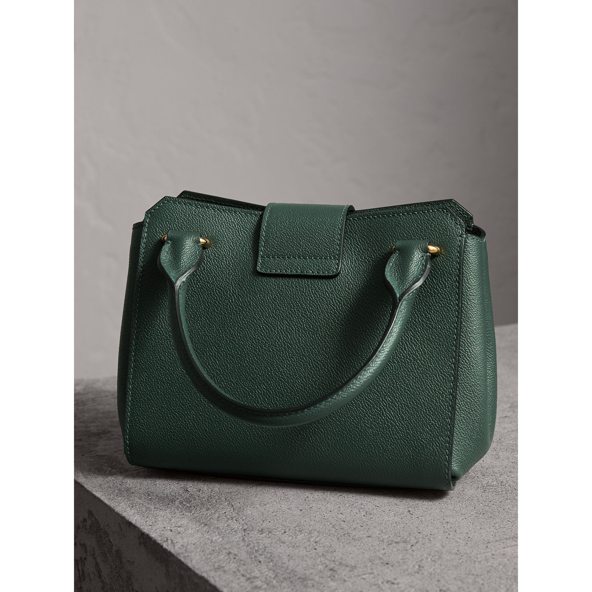 The Small Buckle Tote in Grainy Leather in Sea Green - Women | Burberry United Kingdom - gallery image 4