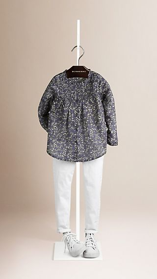 Pintuck Detail Floral Cotton Shirt