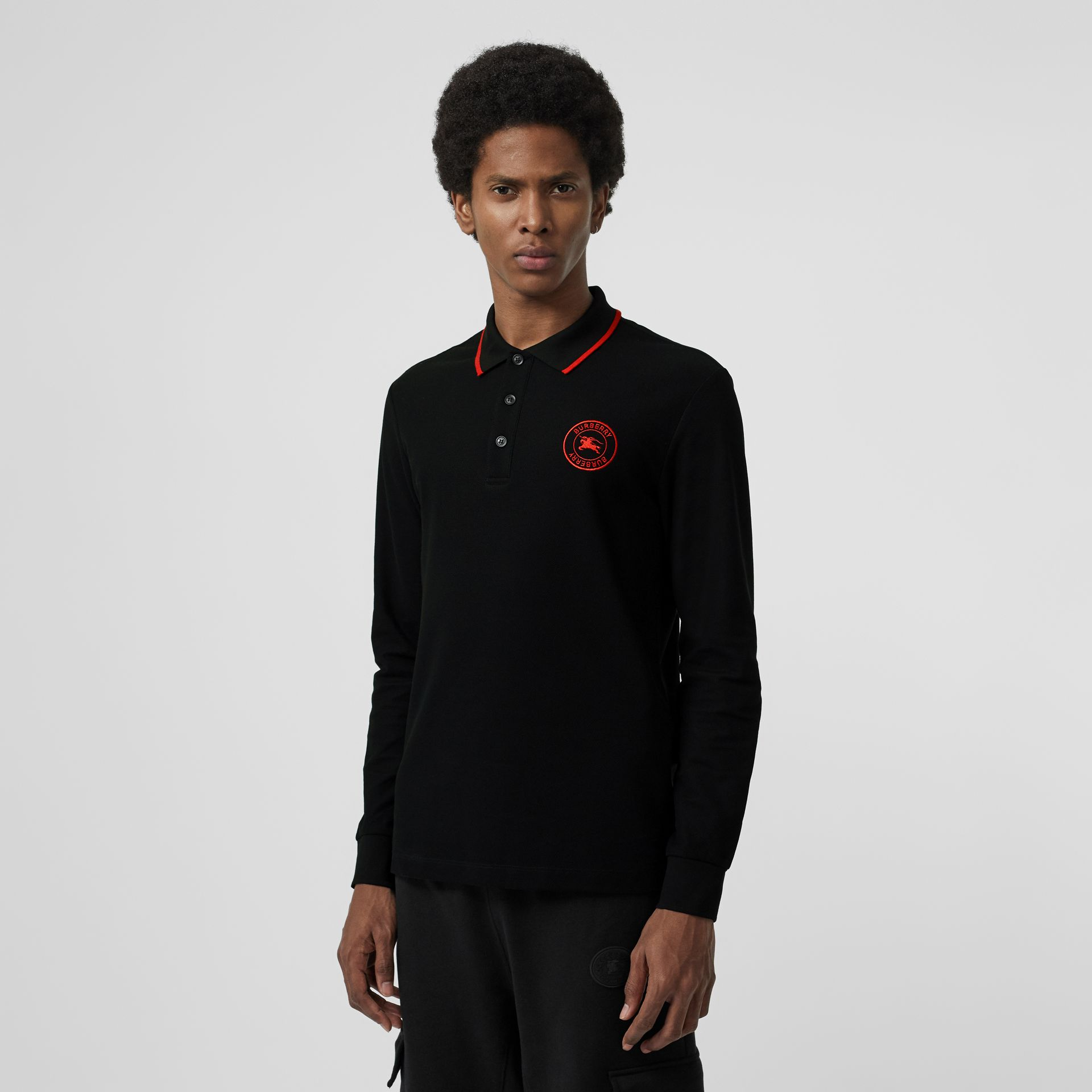 Long-sleeve Embroidered Logo Cotton Polo Shirt in Black - Men | Burberry - gallery image 4