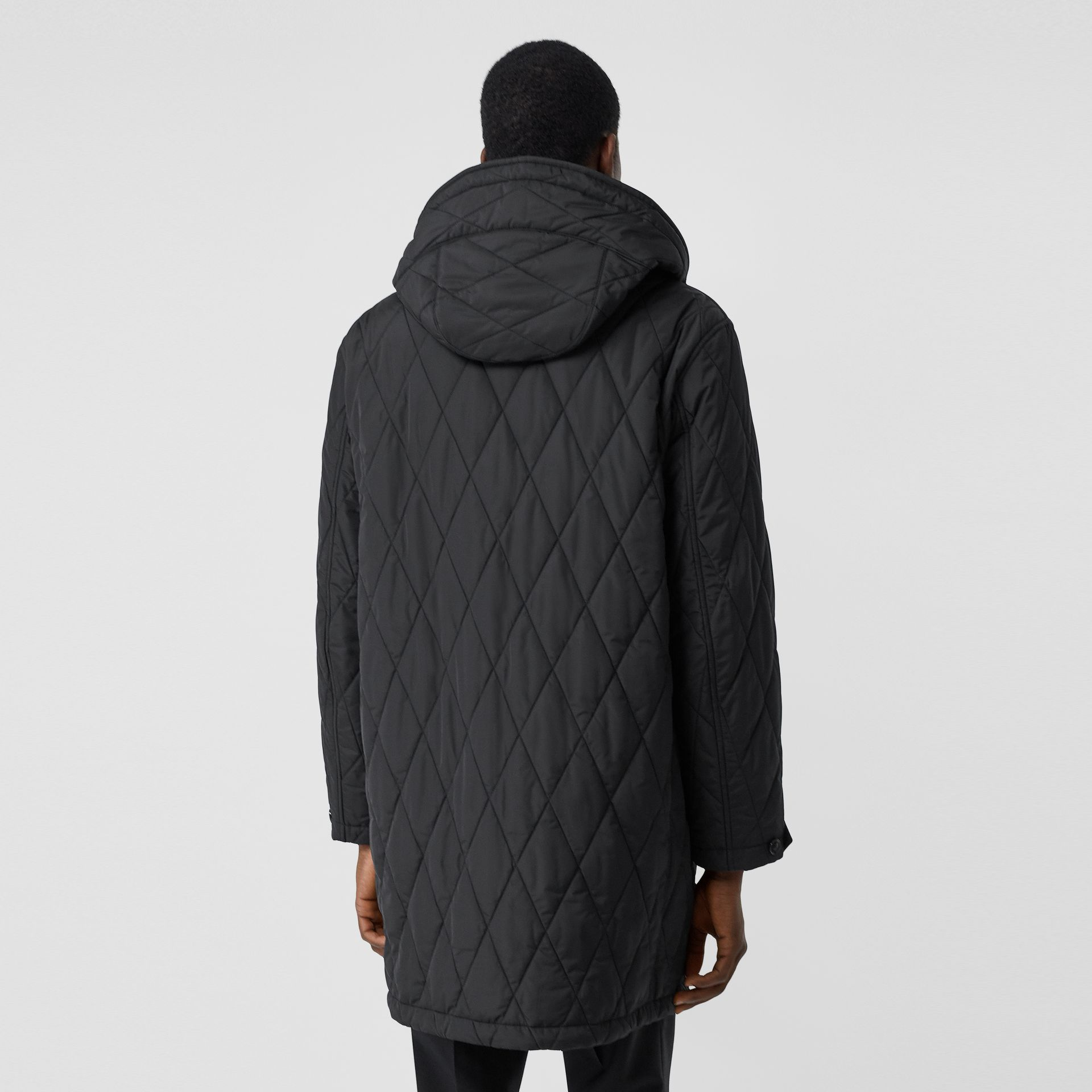 Diamond Quilted Thermoregulated ECONYL® Coat in Black - Men | Burberry United Kingdom - gallery image 2