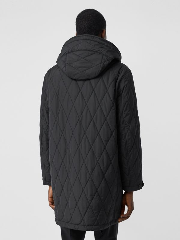 Diamond Quilted Thermoregulated ECONYL® Coat in Black - Men | Burberry United Kingdom - cell image 2