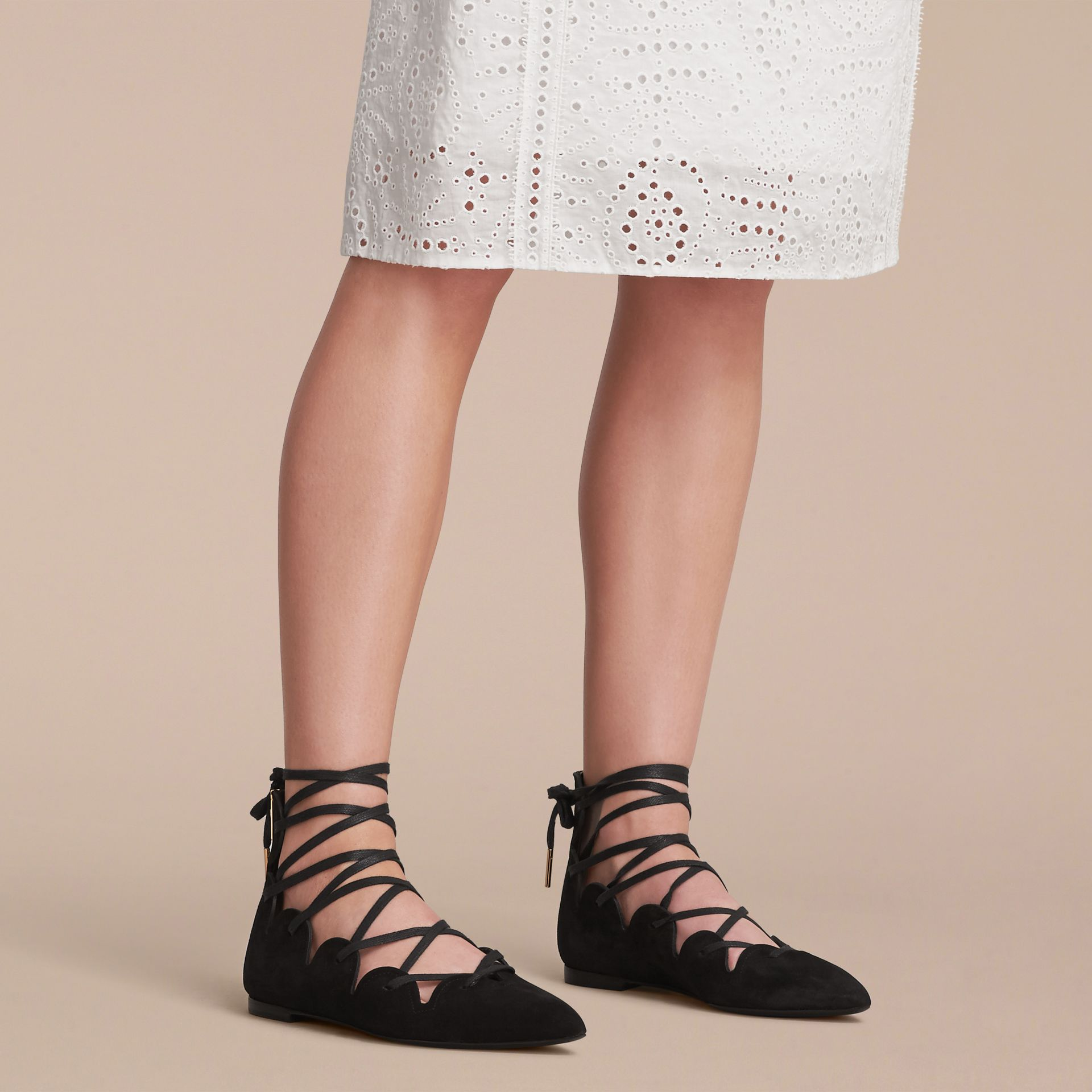 Scalloped Suede Lace-up Ballerinas in Black - Women | Burberry United States - gallery image 3