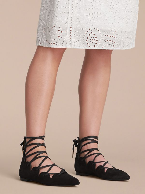 Scalloped Suede Lace-up Ballerinas in Black | Burberry United States - cell image 2