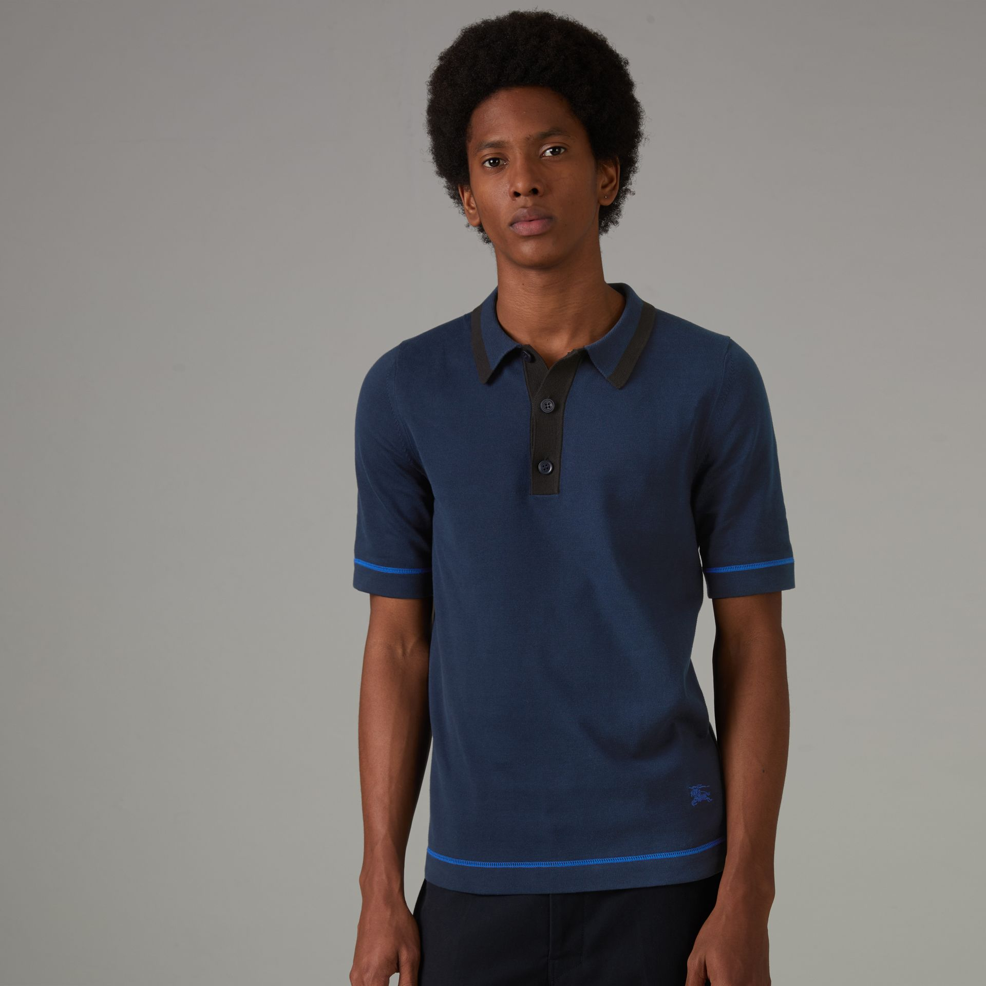 Tipped Cotton Jersey Polo Shirt in Navy Blue - Men | Burberry - gallery image 0