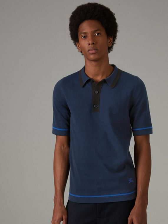 Tipped Cotton Jersey Polo Shirt in Navy Blue