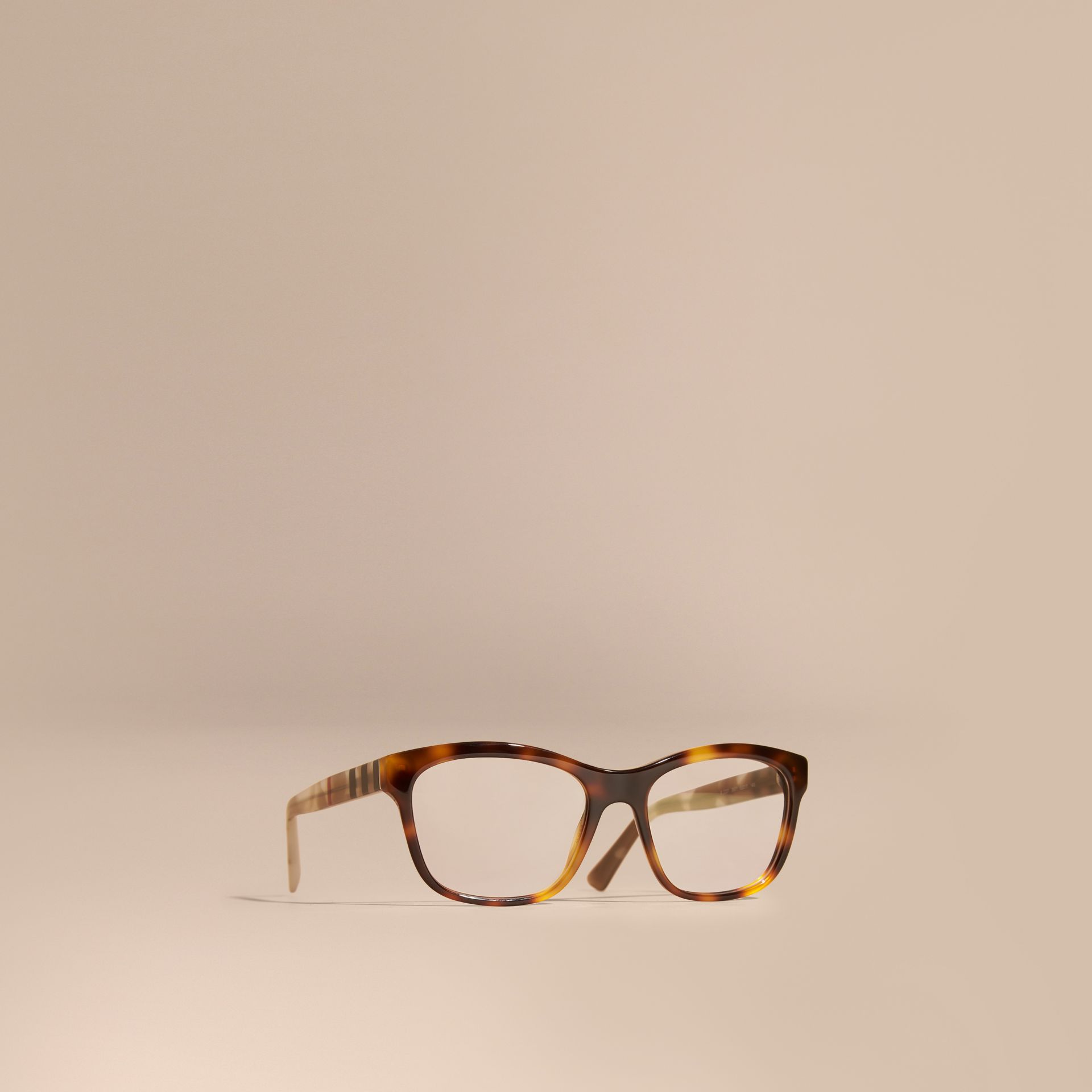 Check Detail Square Optical Frames Light Russet Brown - gallery image 1