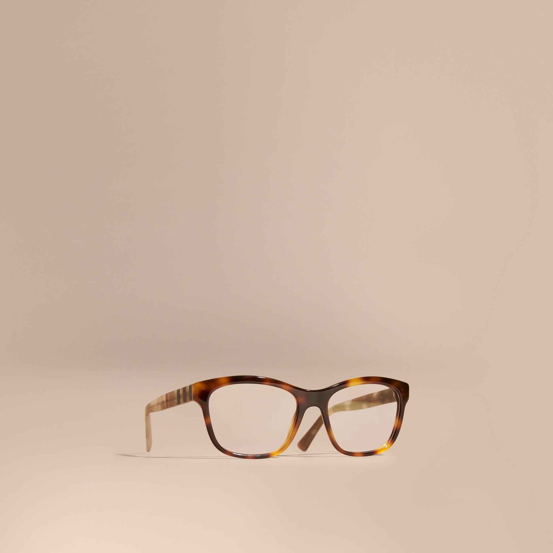 Monture carrée à motif check pour lunettes de vue (Brun Roux Clair) - Femme | Burberry - photo de la galerie 1