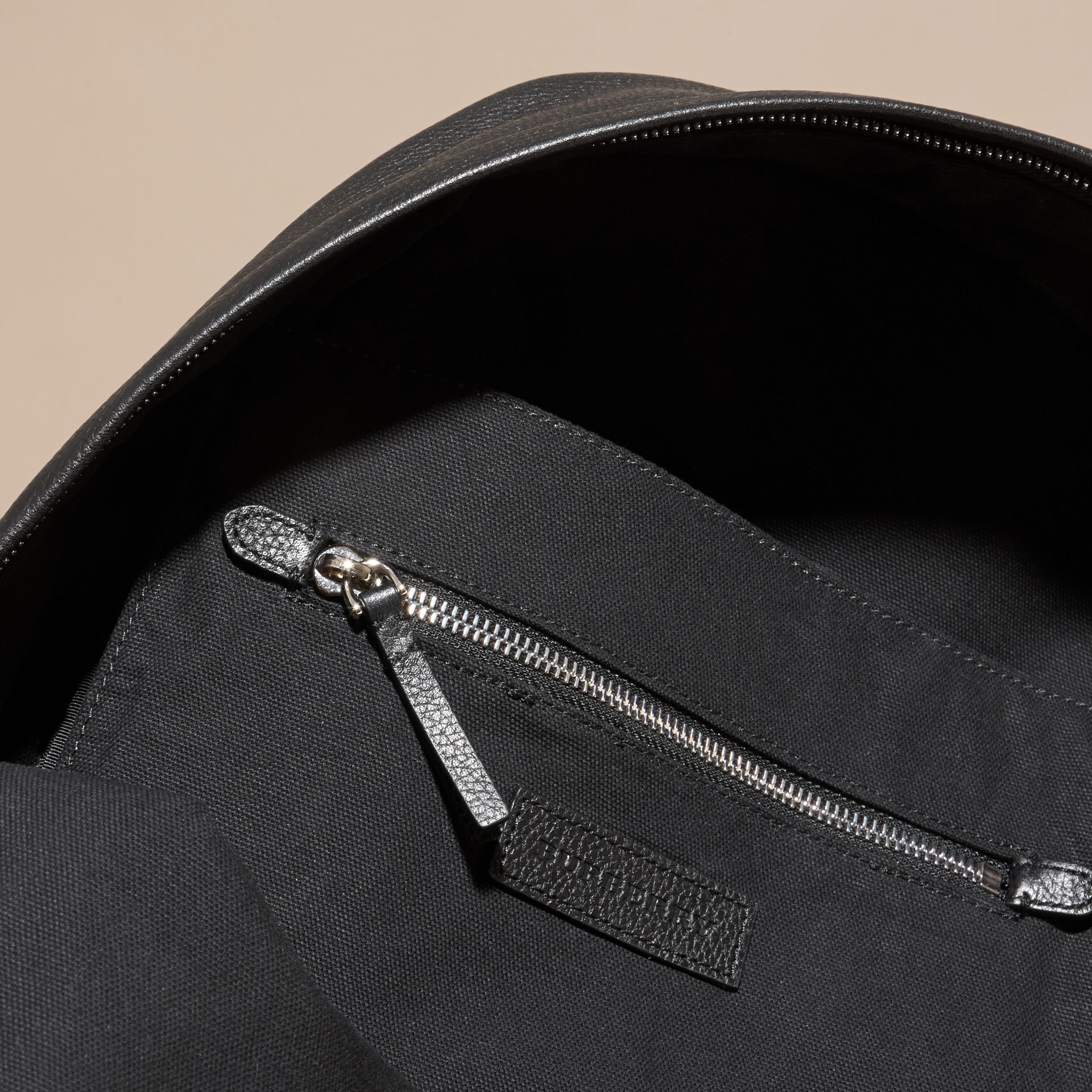 Black Grainy Leather Backpack - gallery image 5