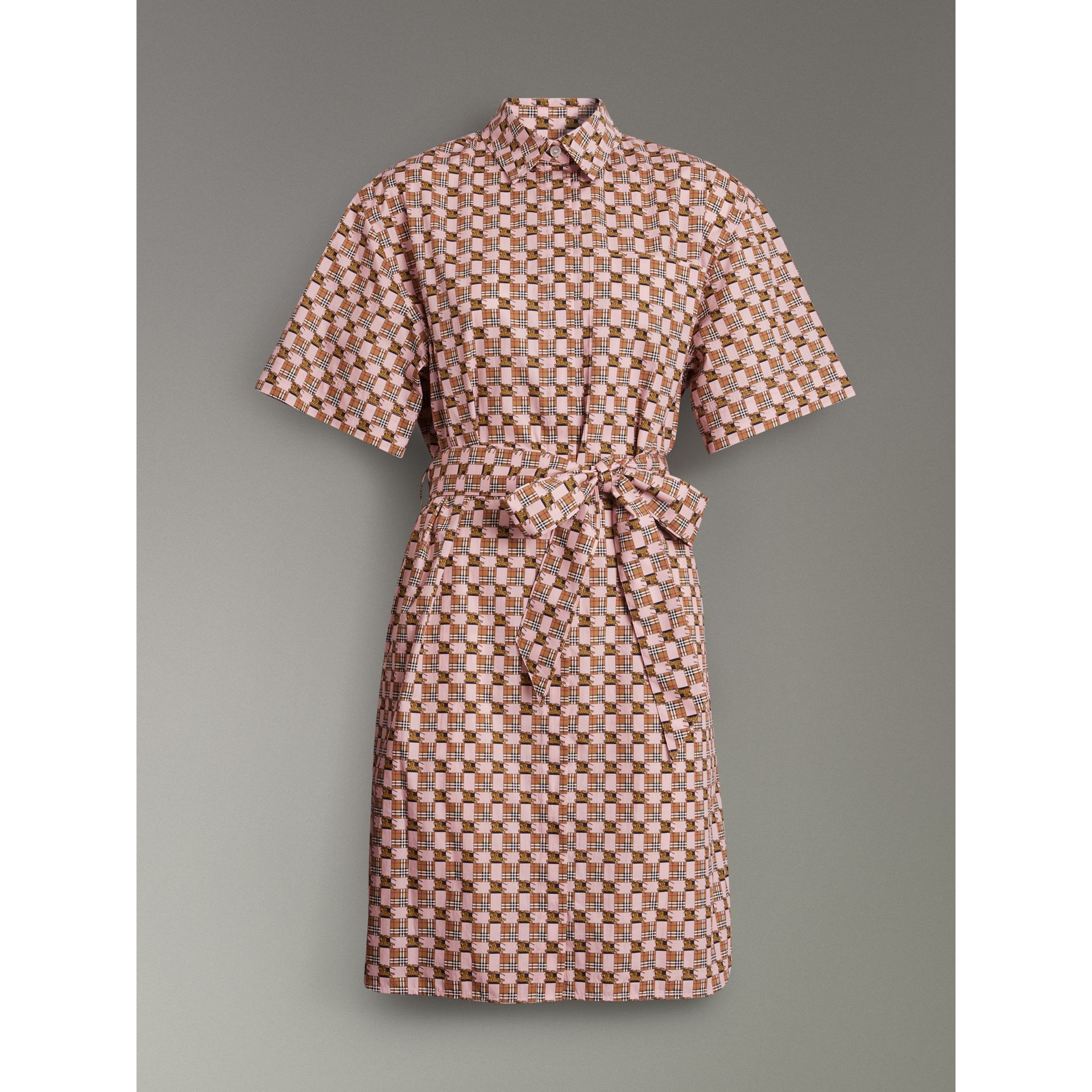 Tiled Archive Print Cotton Shirt Dress in Pink - Women | Burberry United Kingdom - gallery image 3