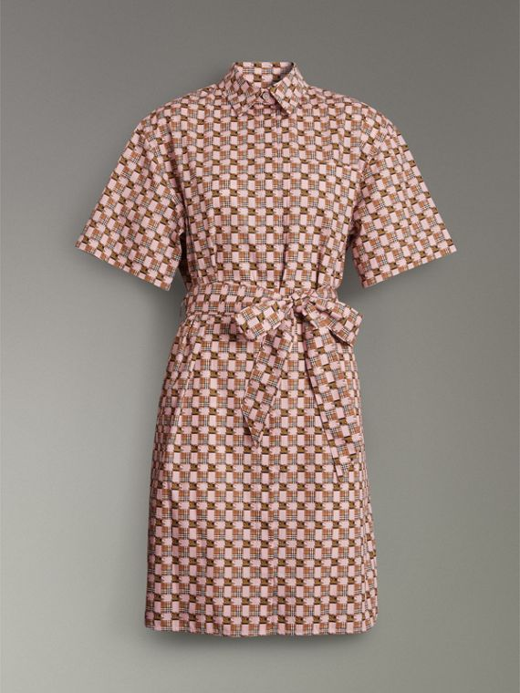 Tiled Archive Print Cotton Shirt Dress in Pink - Women | Burberry - cell image 3