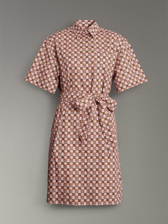Платье-рубашка с мозаичным принтом (Розовый) - Для женщин | Burberry - cell image 3