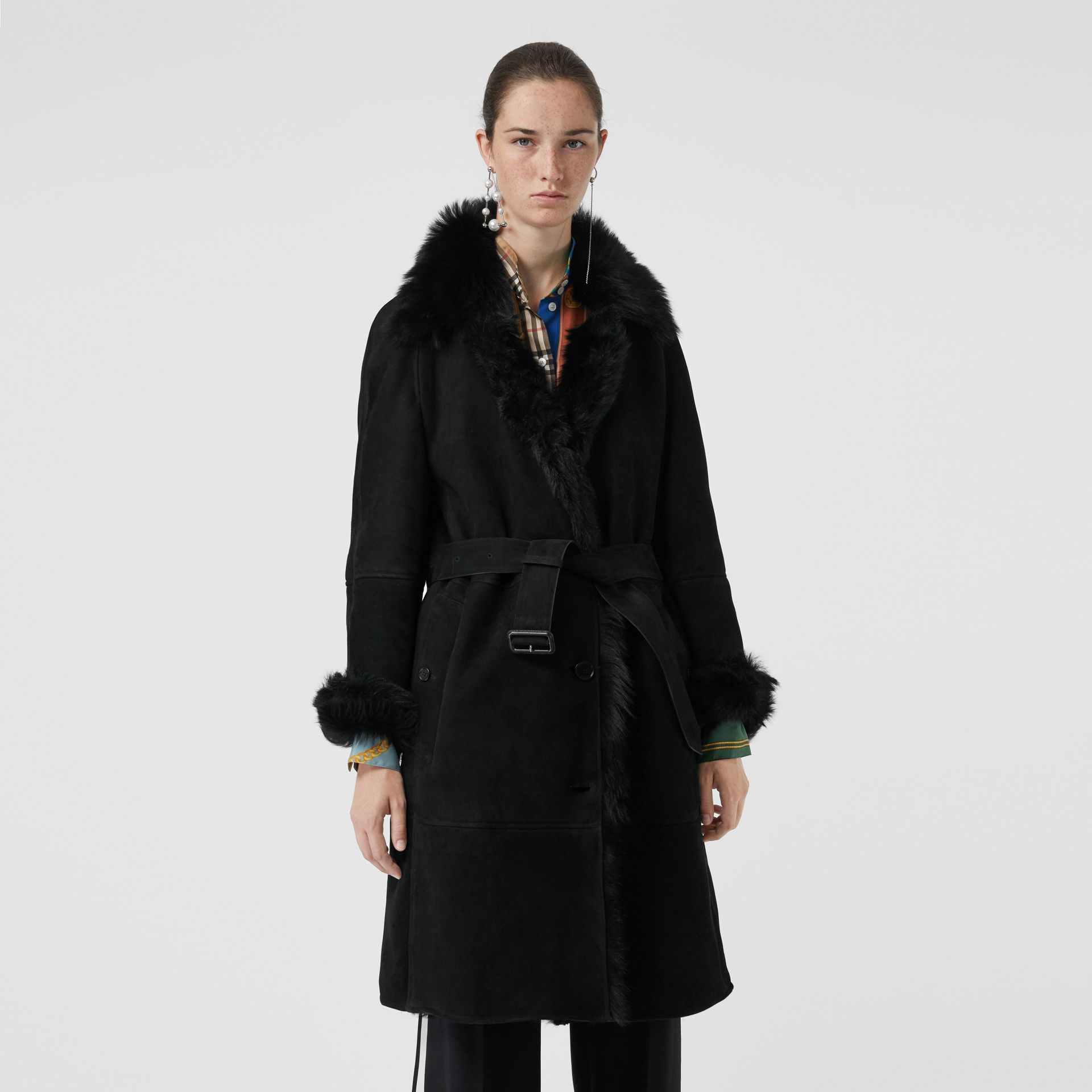 Shearling Car Coat in Black - Women | Burberry - gallery image 5