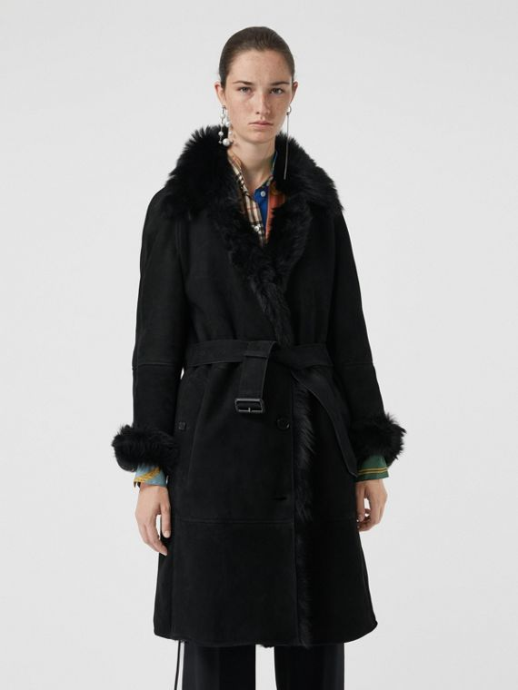 Shearling Car Coat in Black