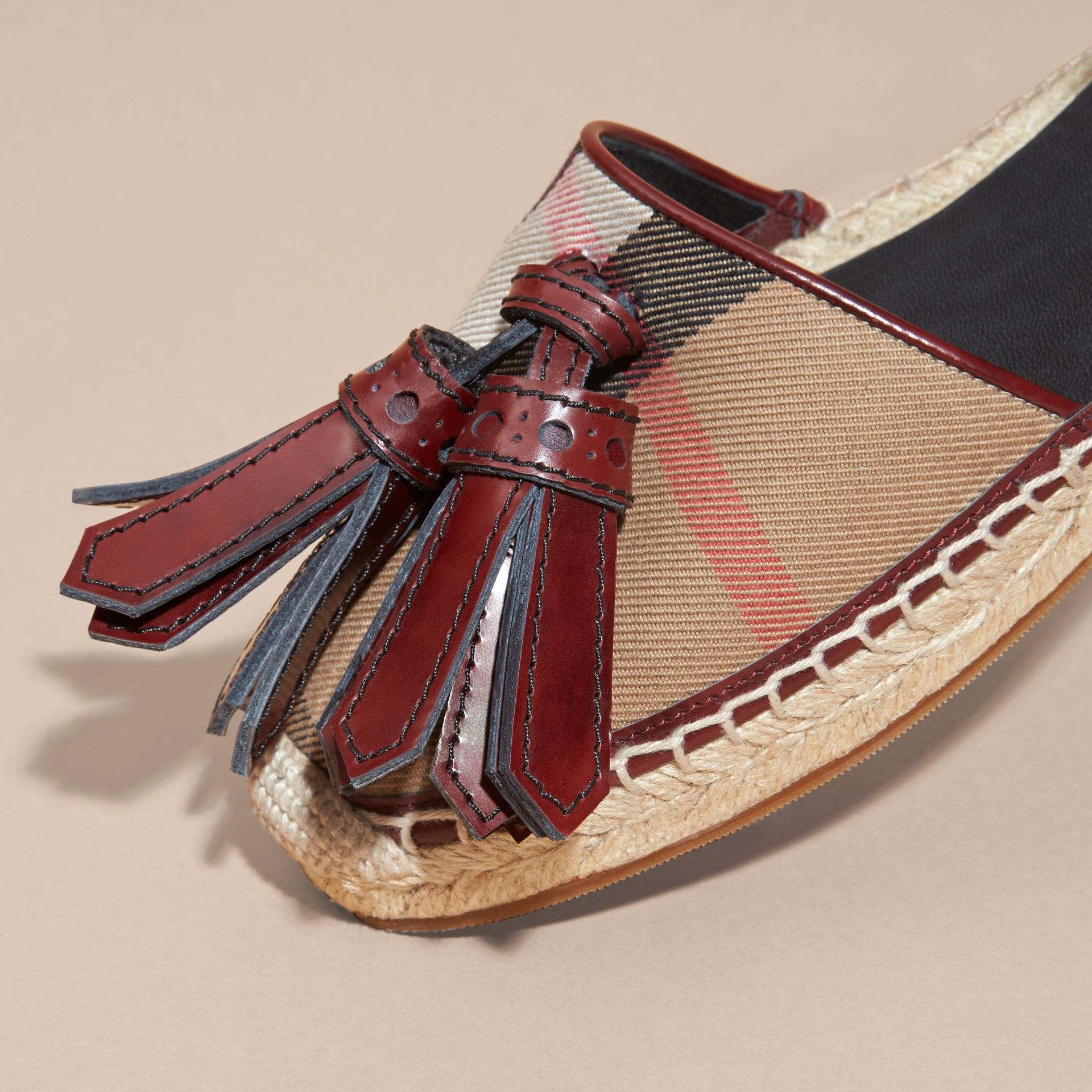 Bordeaux Tasselled Leather and House Check Espadrille Sandals - gallery image 2