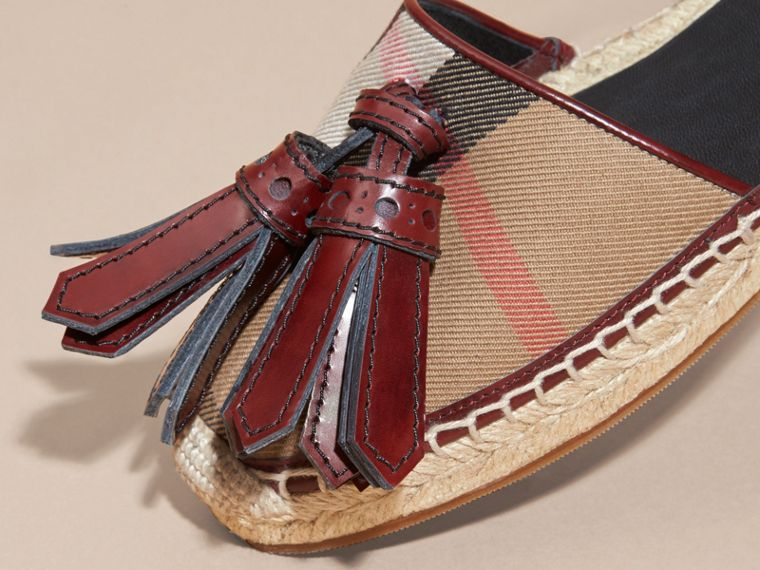 Bordeaux Tasselled Leather and House Check Espadrille Sandals - cell image 1