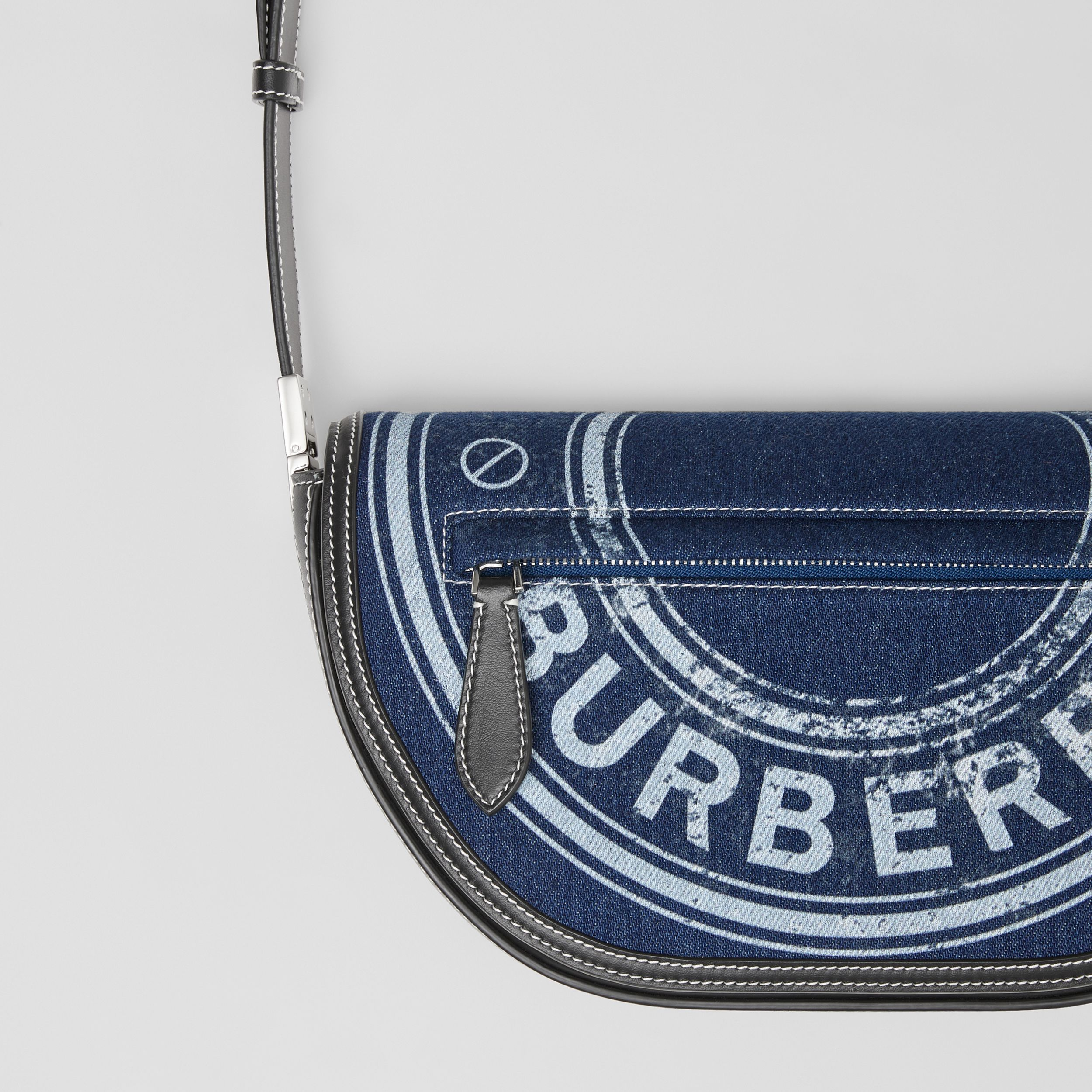 Small Logo Graphic Denim and Leather Olympia Bag in Dark Canvas Blue - Women | Burberry - 2
