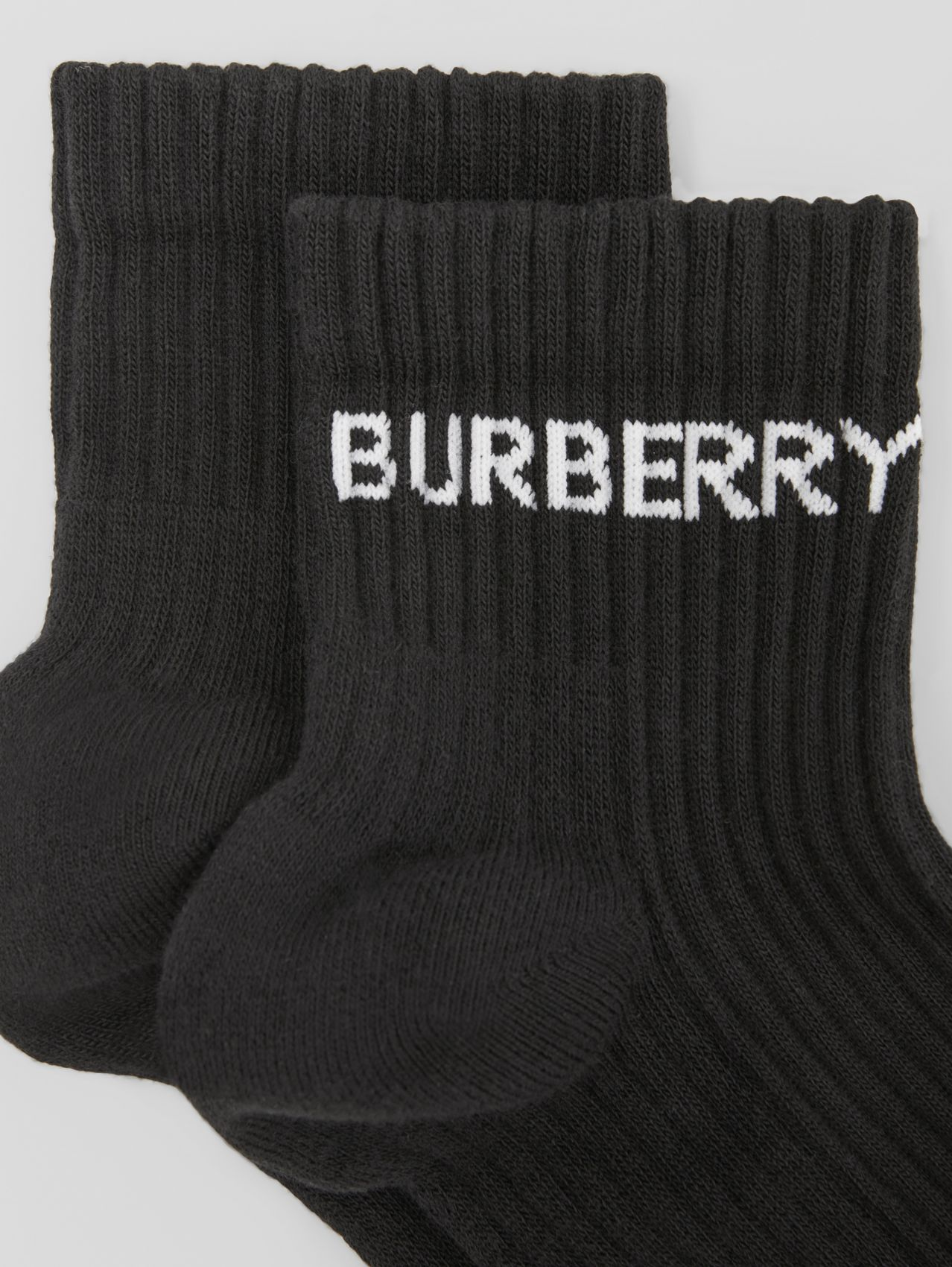 Logo Intarsia Technical Stretch Cotton Ankle Socks in Black