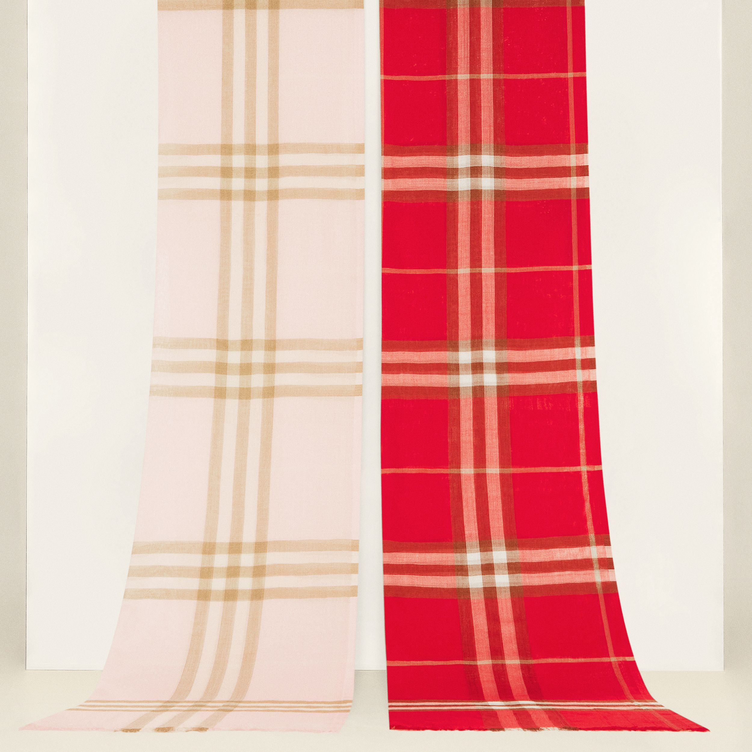 Lightweight Check Wool Silk Scarf in Alabaster | Burberry - 2