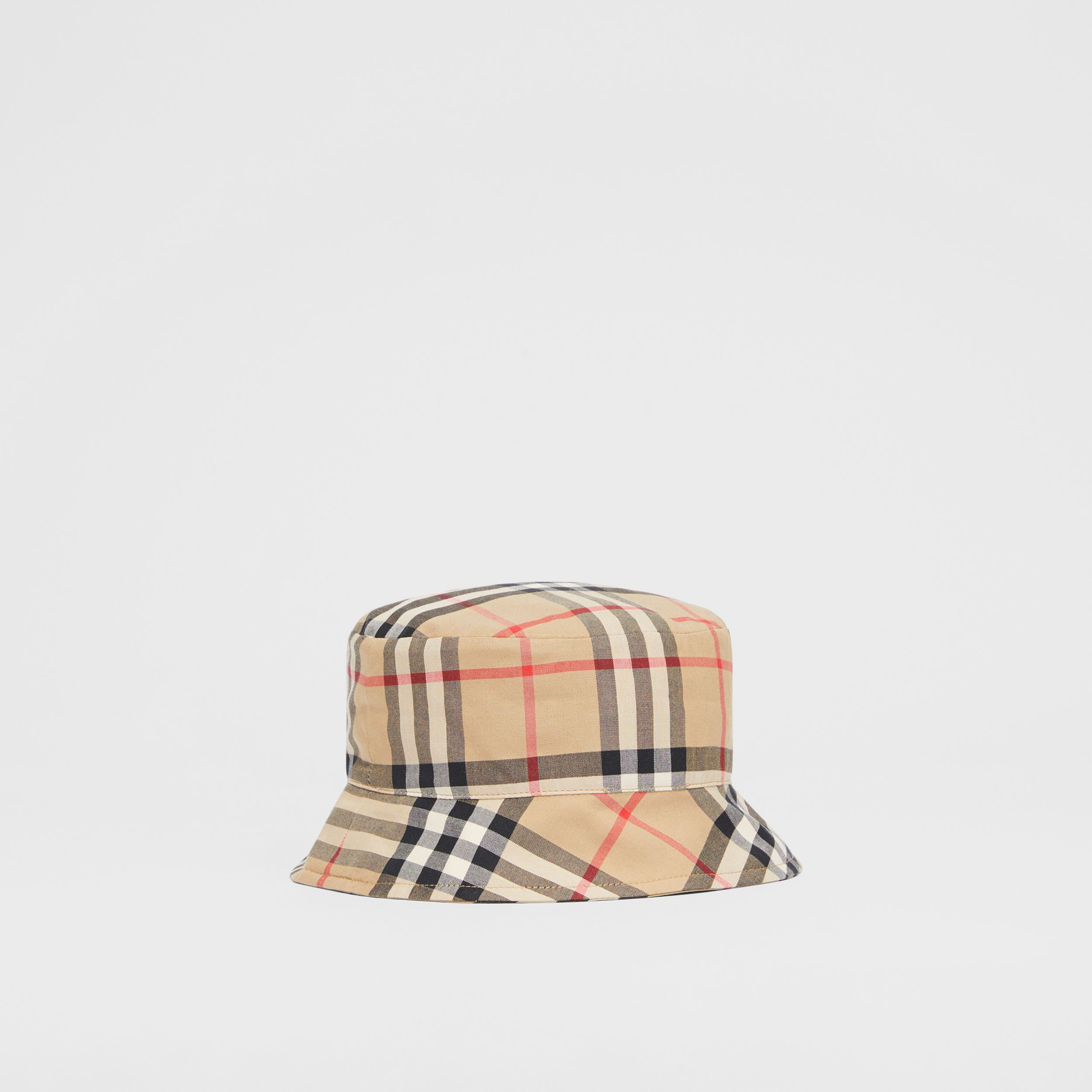 Reversible Vintage Check and Icon Stripe Bucket Hat in Archive Beige - Children | Burberry - 3