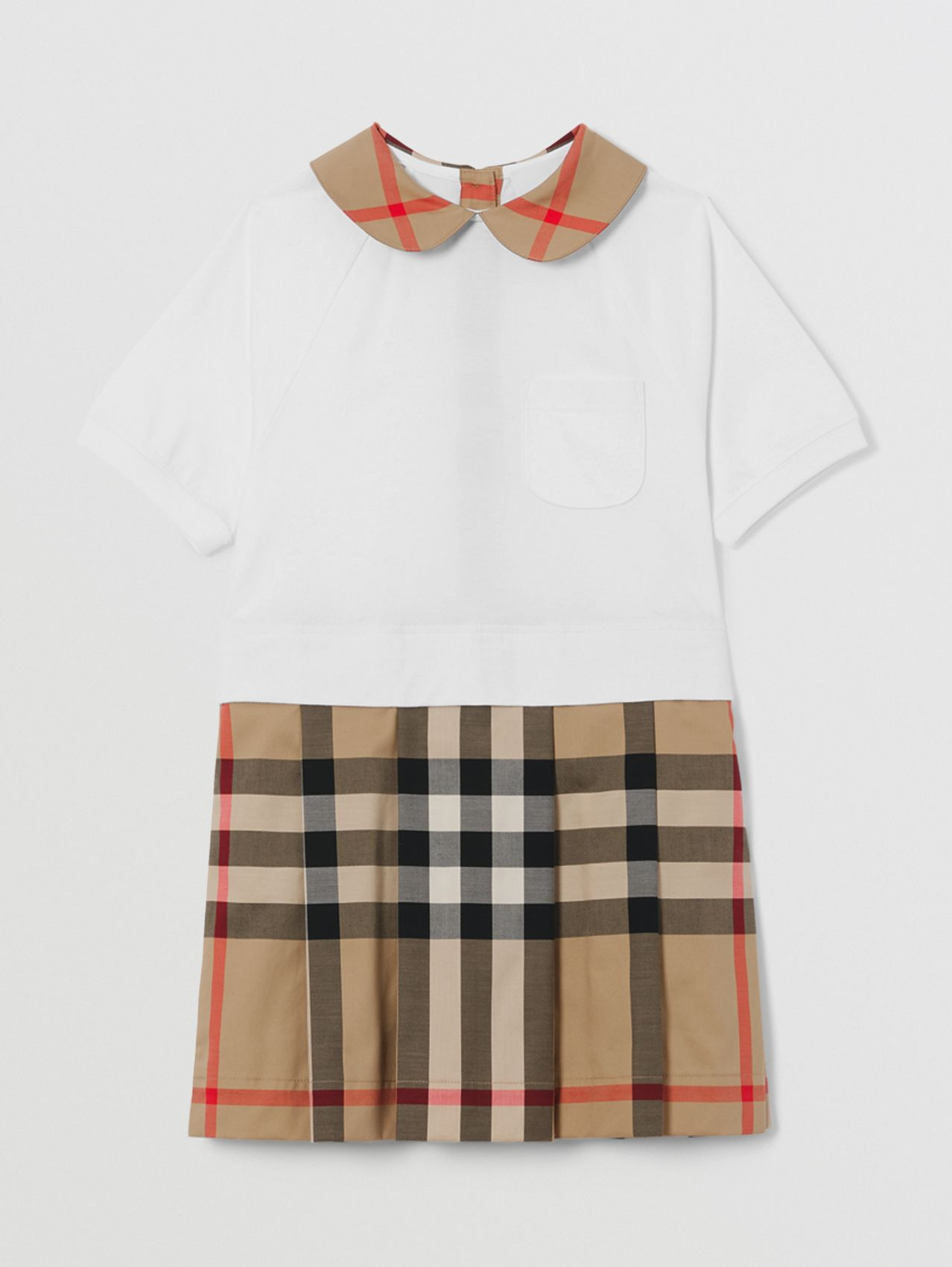 Short-sleeve Check Detail Cotton Dress in Archive Beige