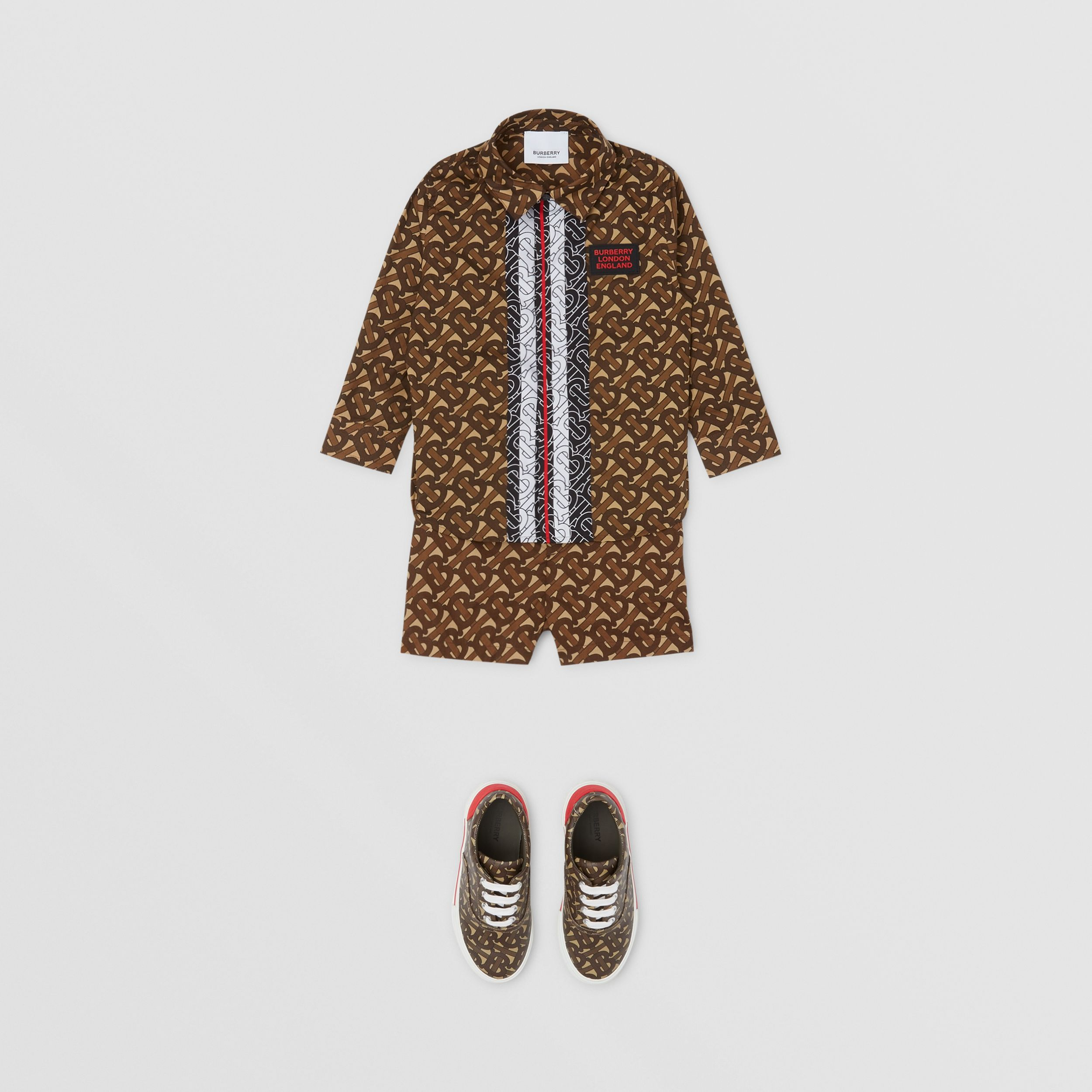 Monogram Stripe Print Cotton Shirt - Children | Burberry Australia - 3
