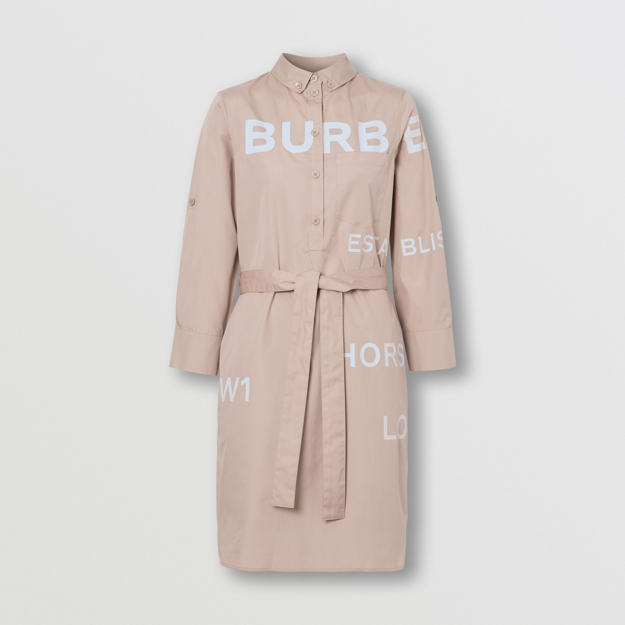 Horseferry Print Cotton Tie-waist Shirt Dress in Soft Fawn - Women | Burberry United Kingdom - 4